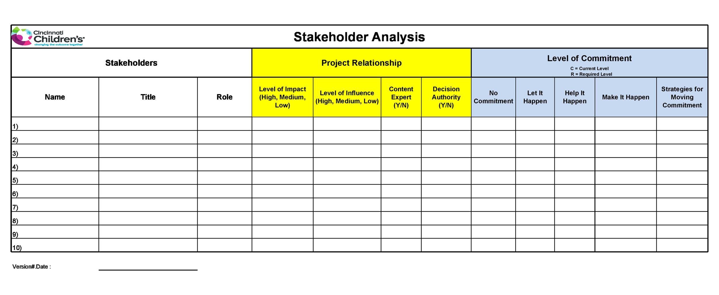 Free stakeholder analysis template 03