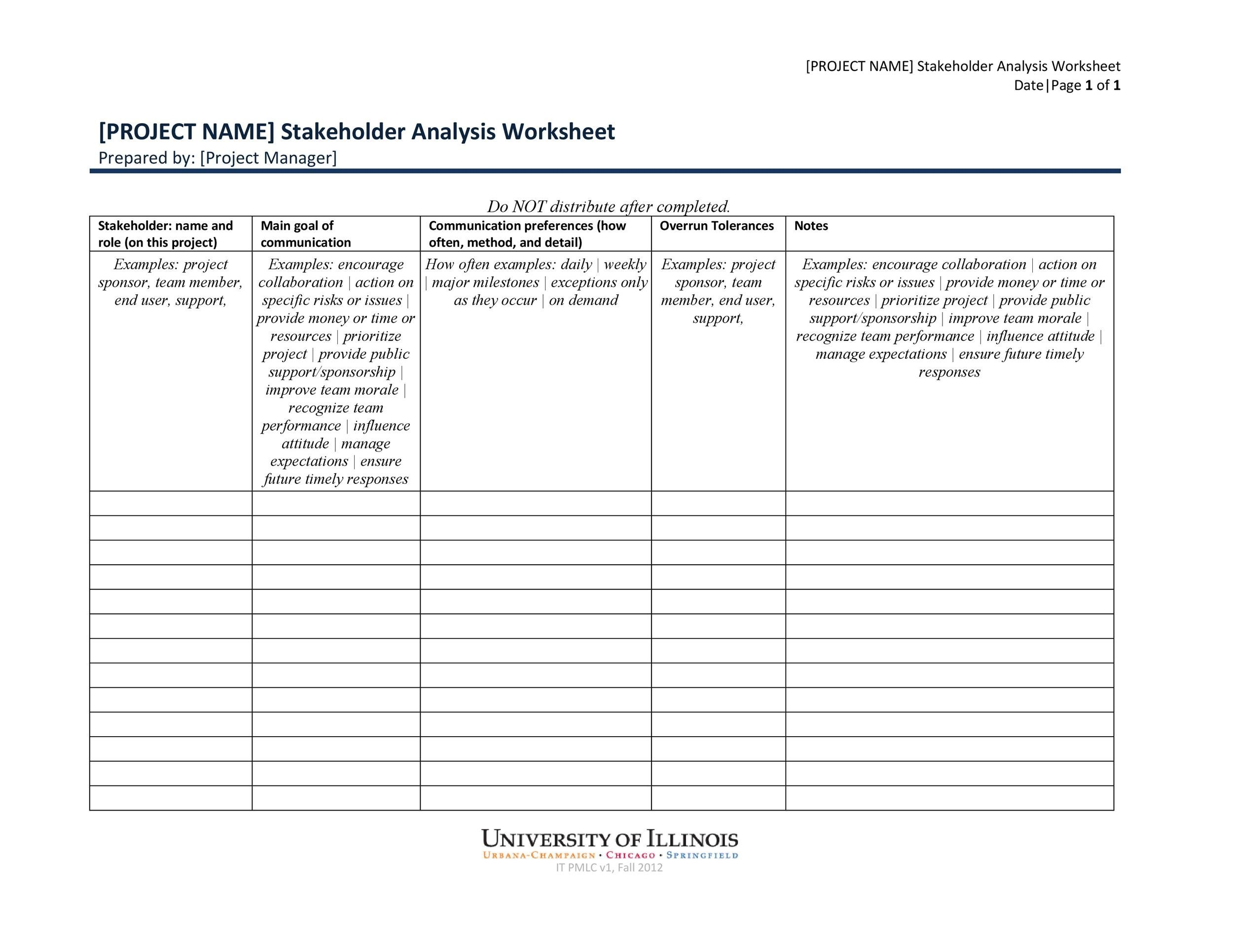 Free stakeholder analysis template 24