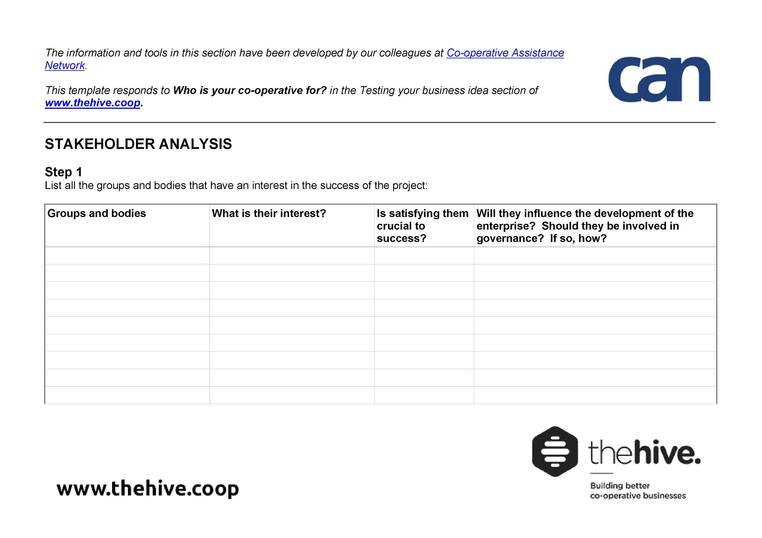 Free stakeholder analysis template 26