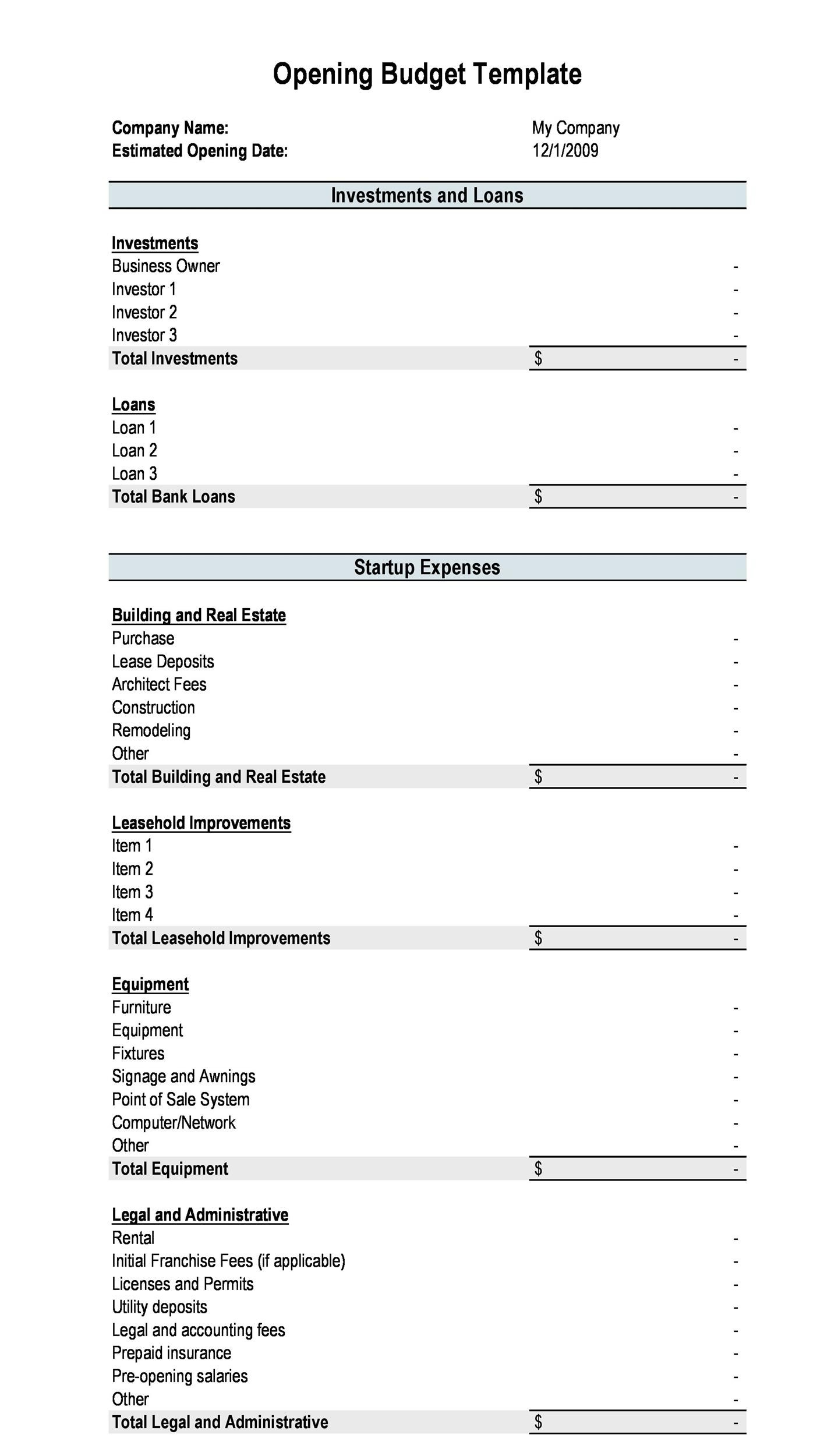 Free startup budget template 01