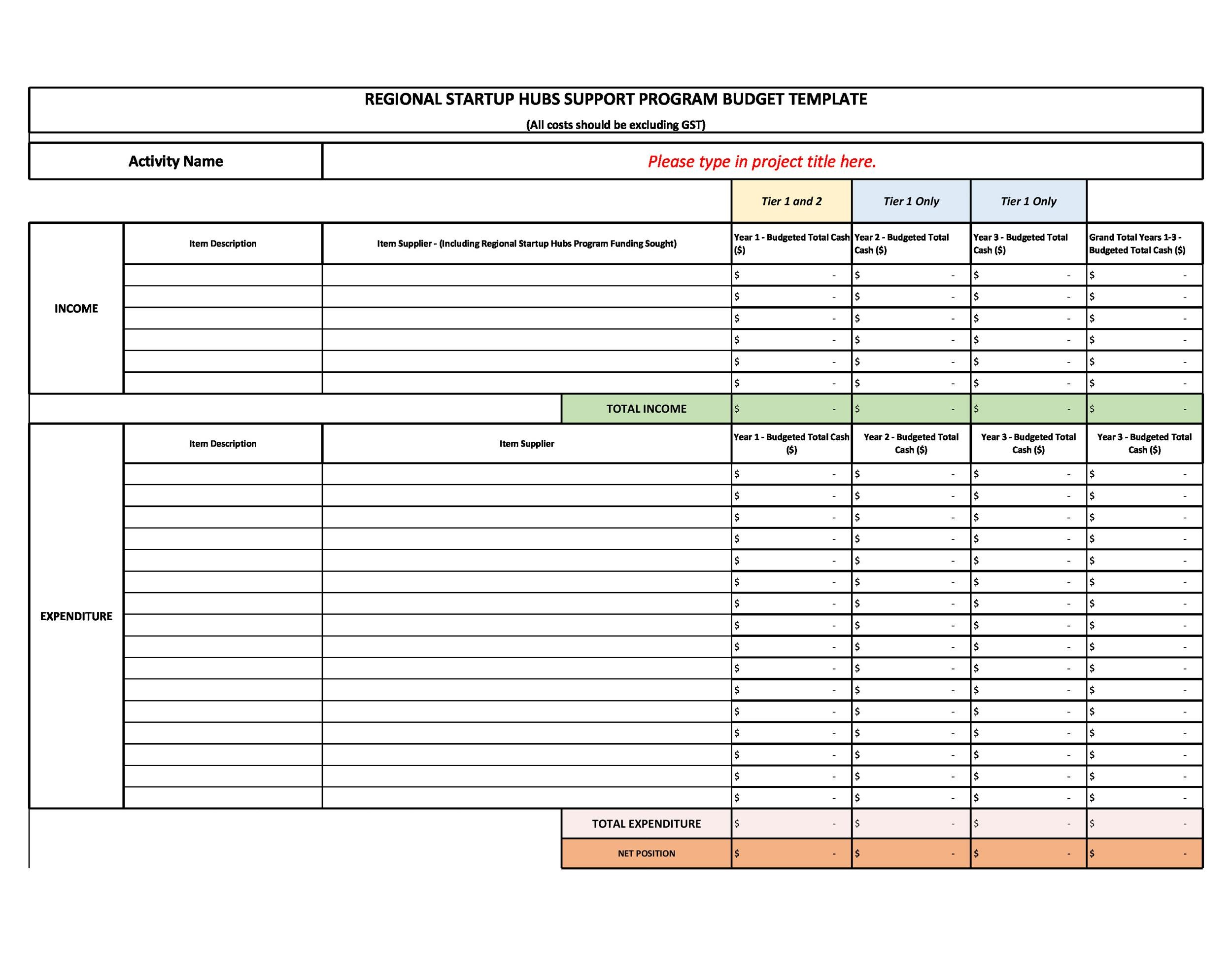 Free startup budget template 13