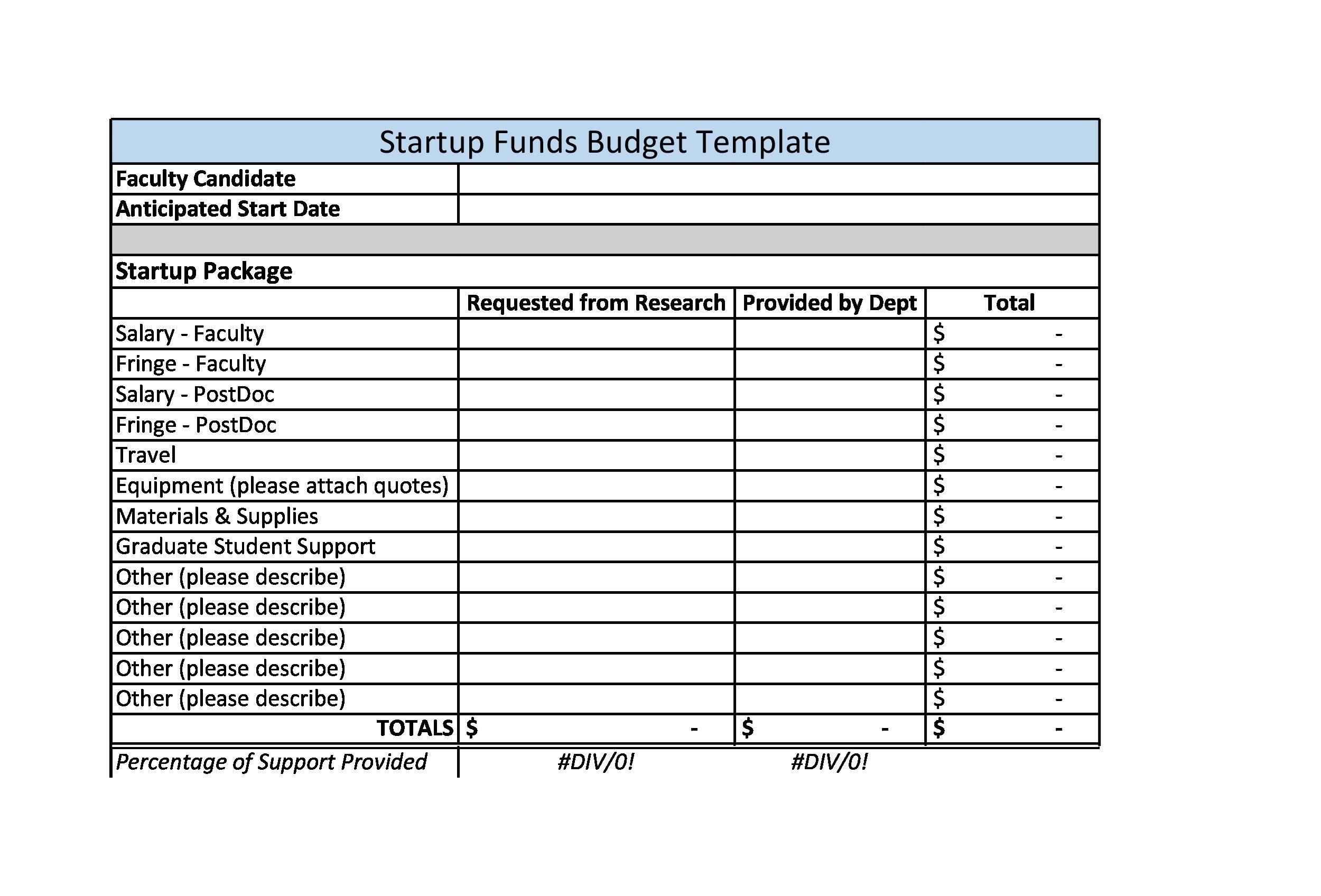 Free startup budget template 14