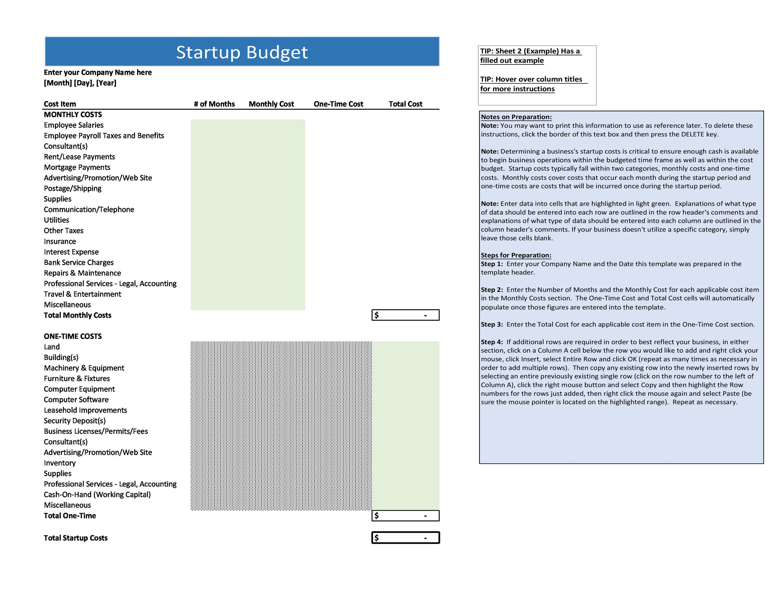 Free startup budget template 17