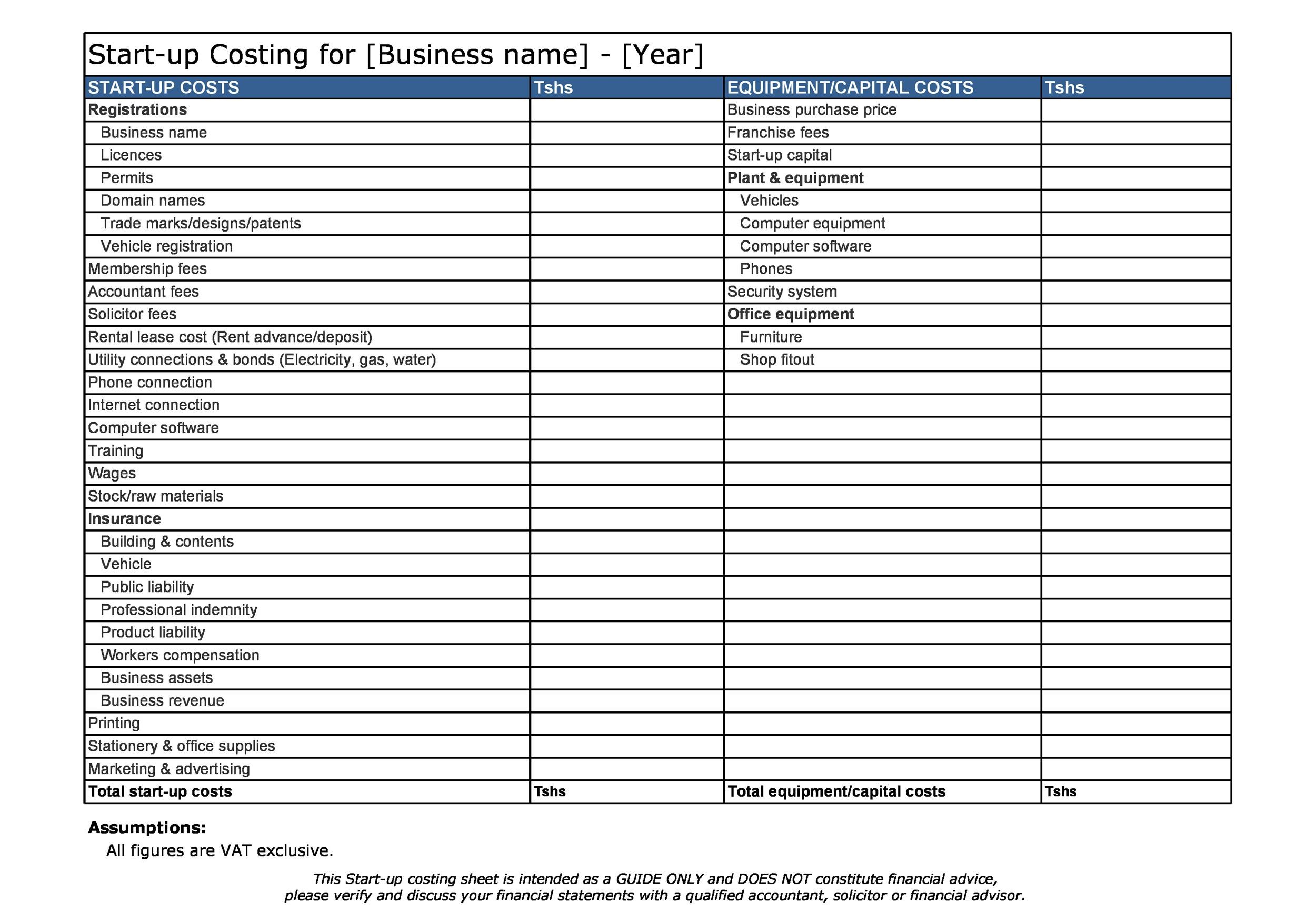 Free startup budget template 22