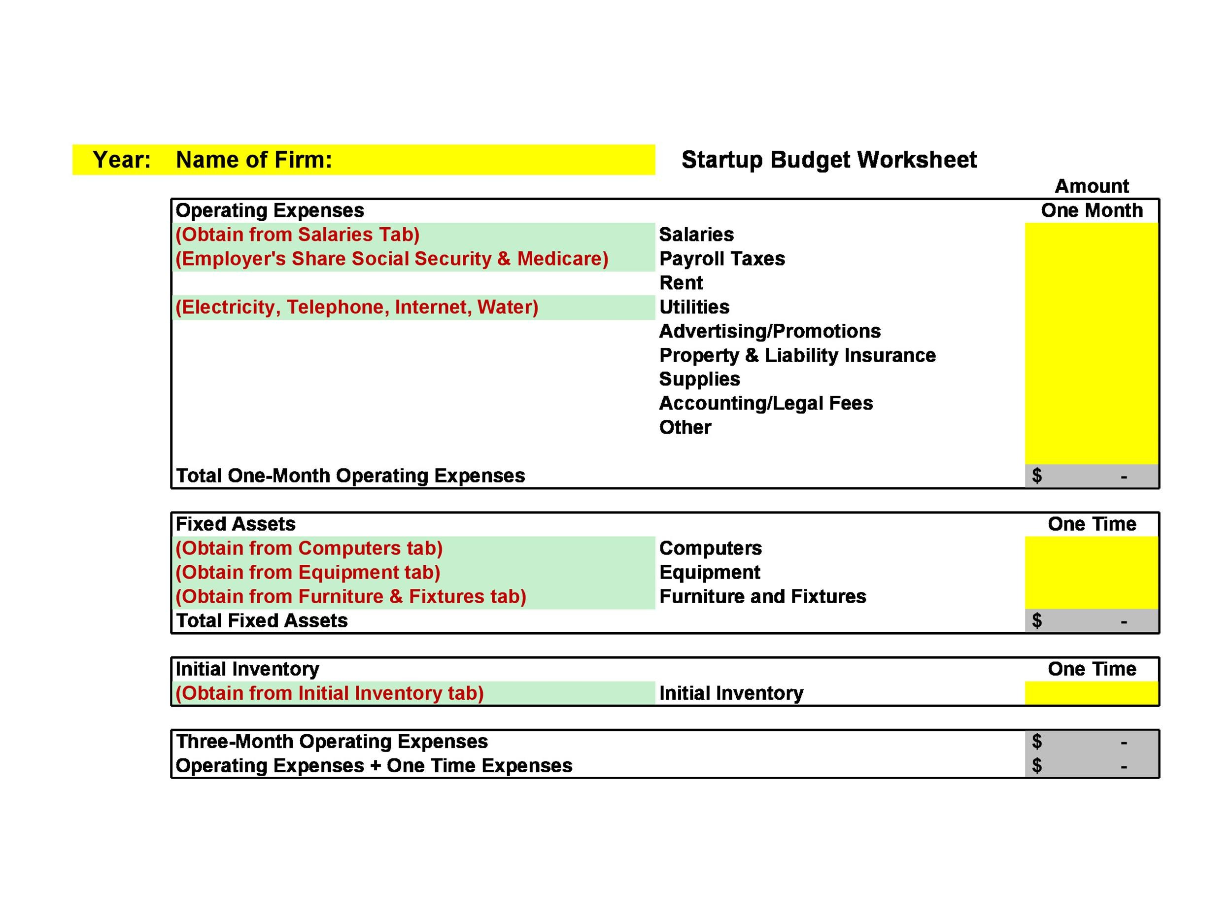 Free startup budget template 29
