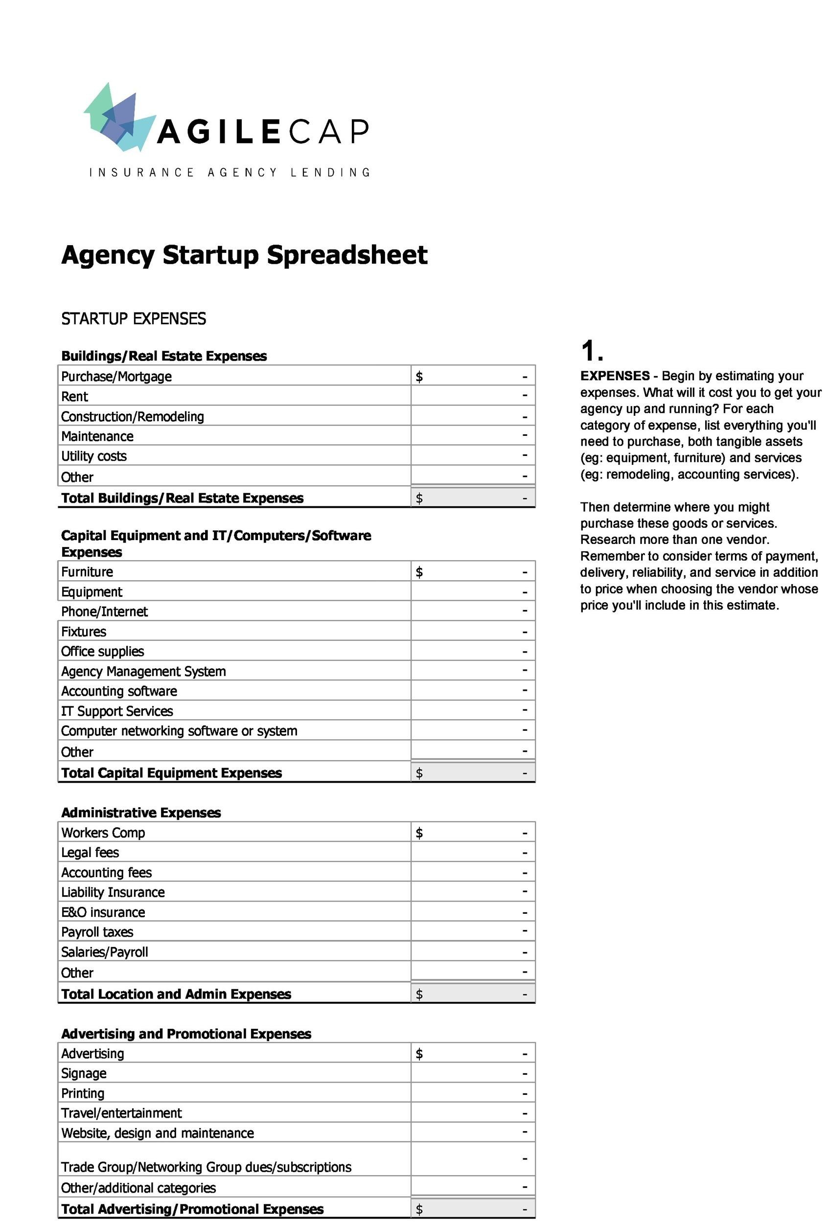 Free startup budget template 37