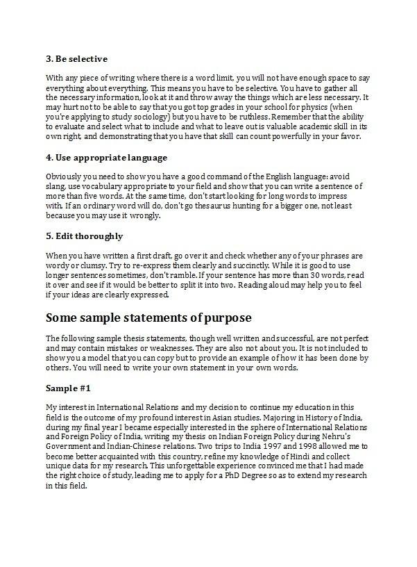 Free statement of purpose example 05