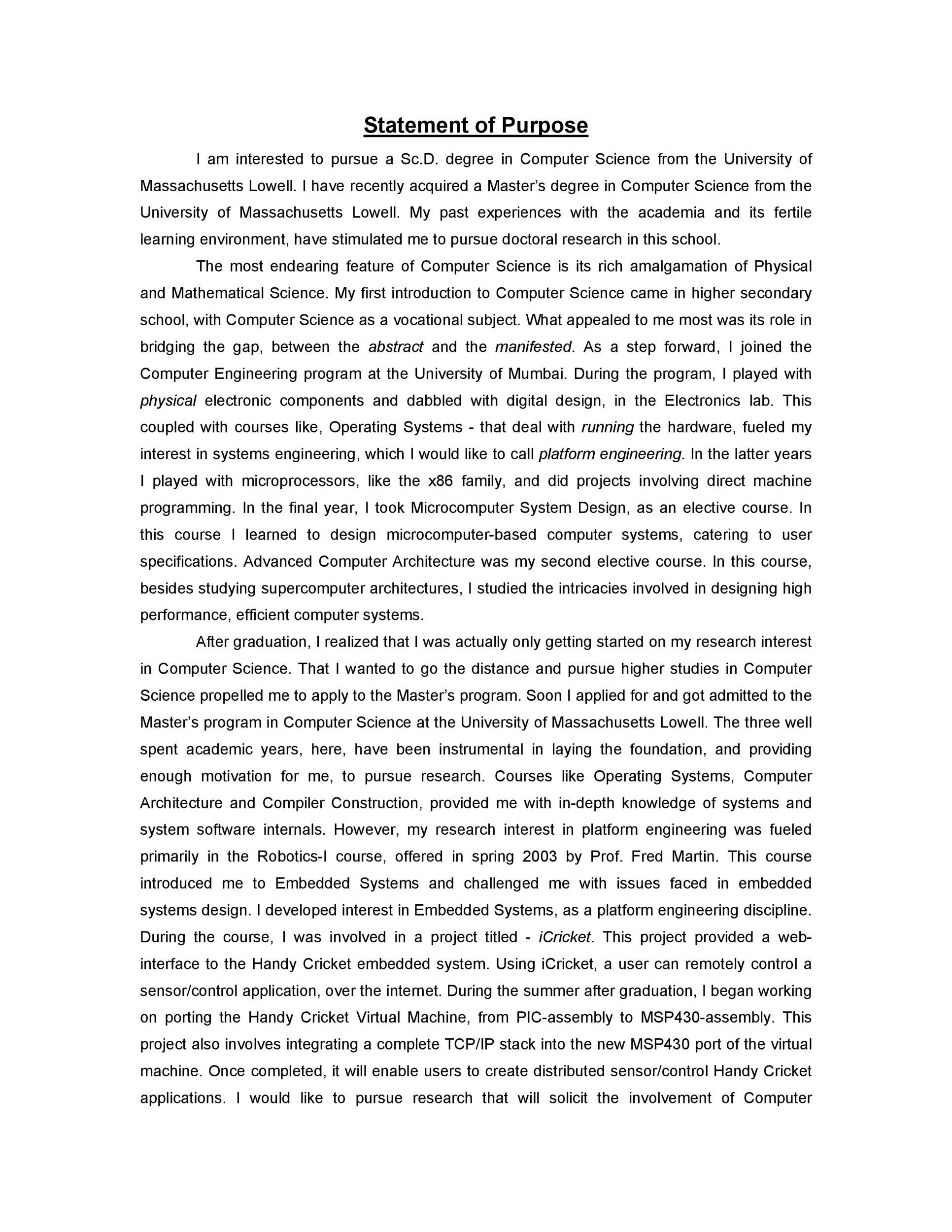Free statement of purpose example 20