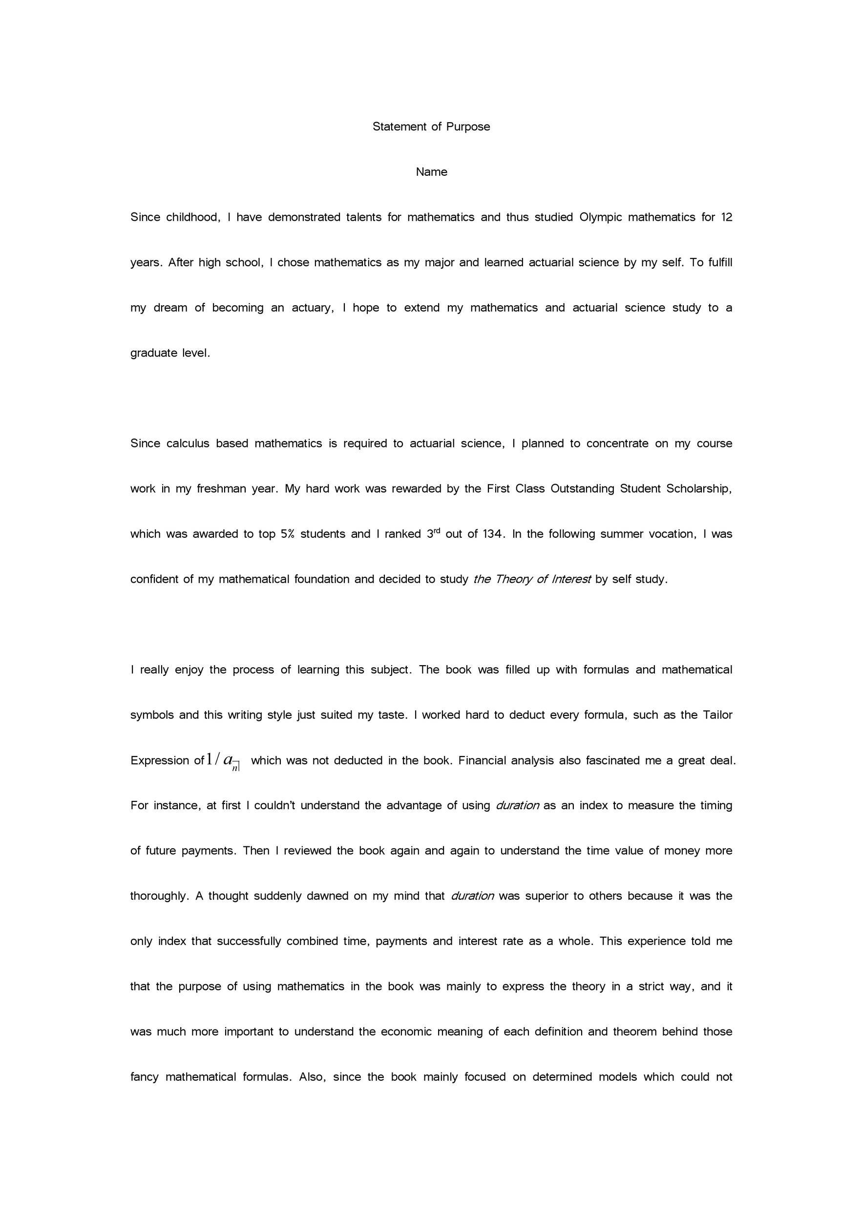 Free statement of purpose example 21
