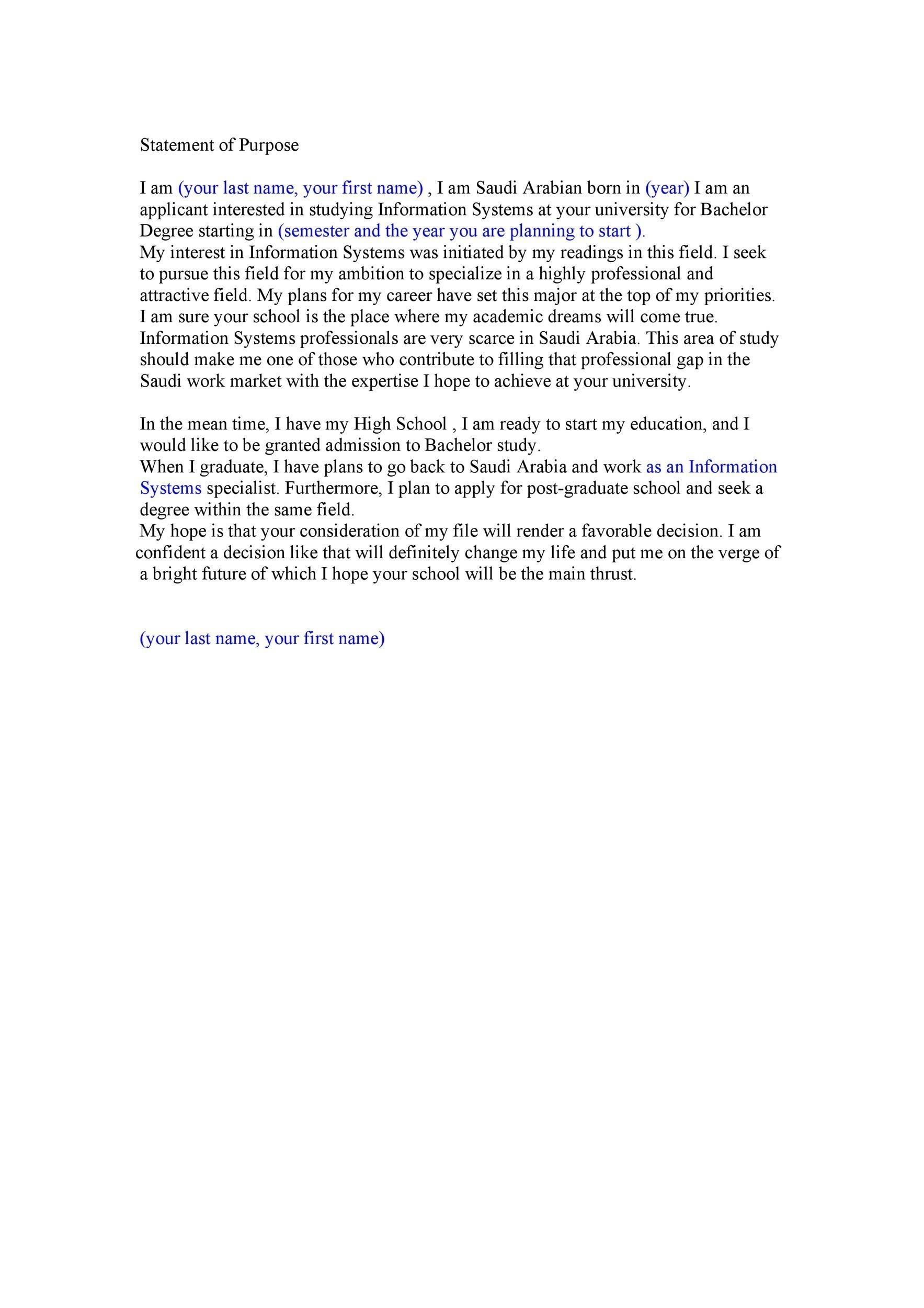 Free statement of purpose example 27