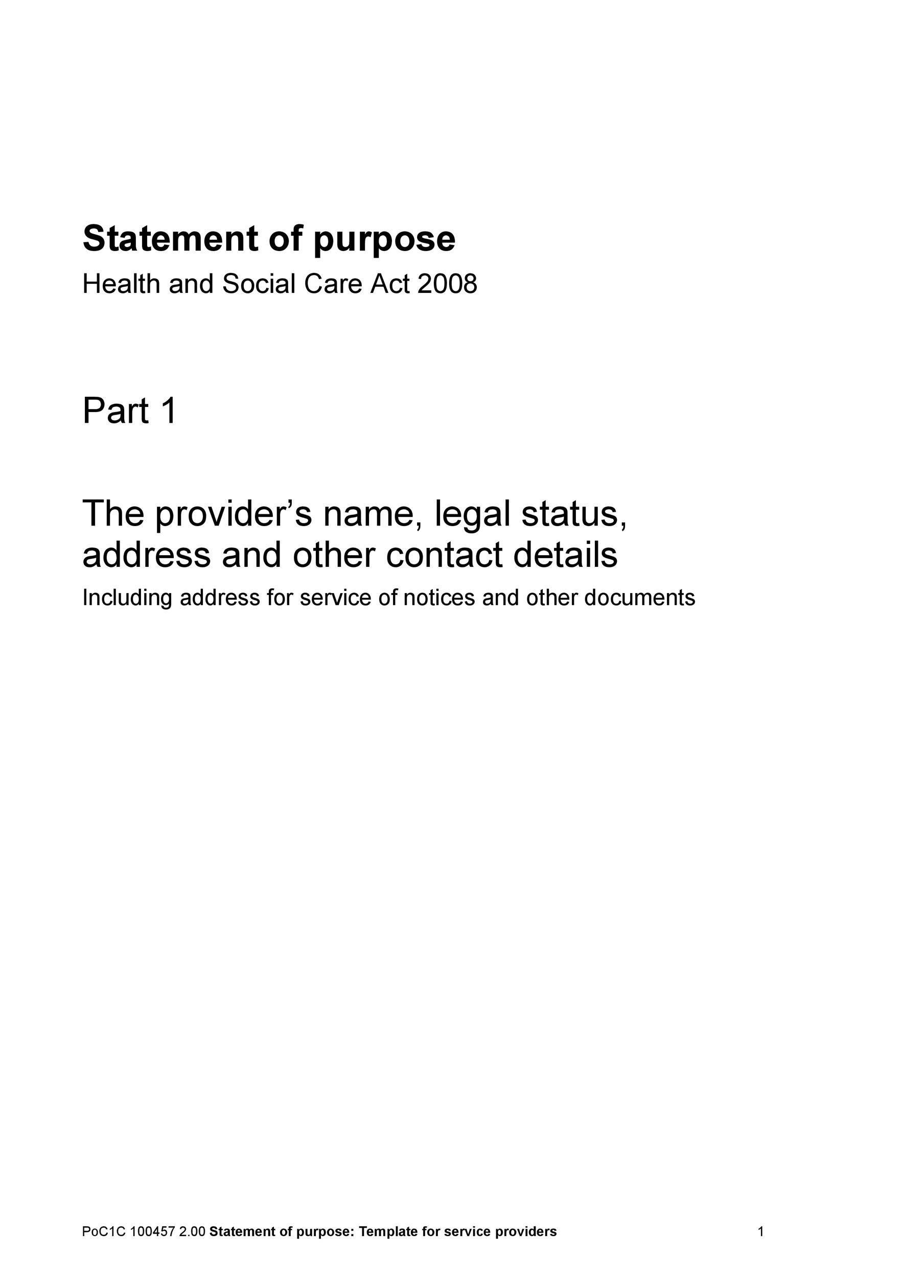 Free statement of purpose example 47