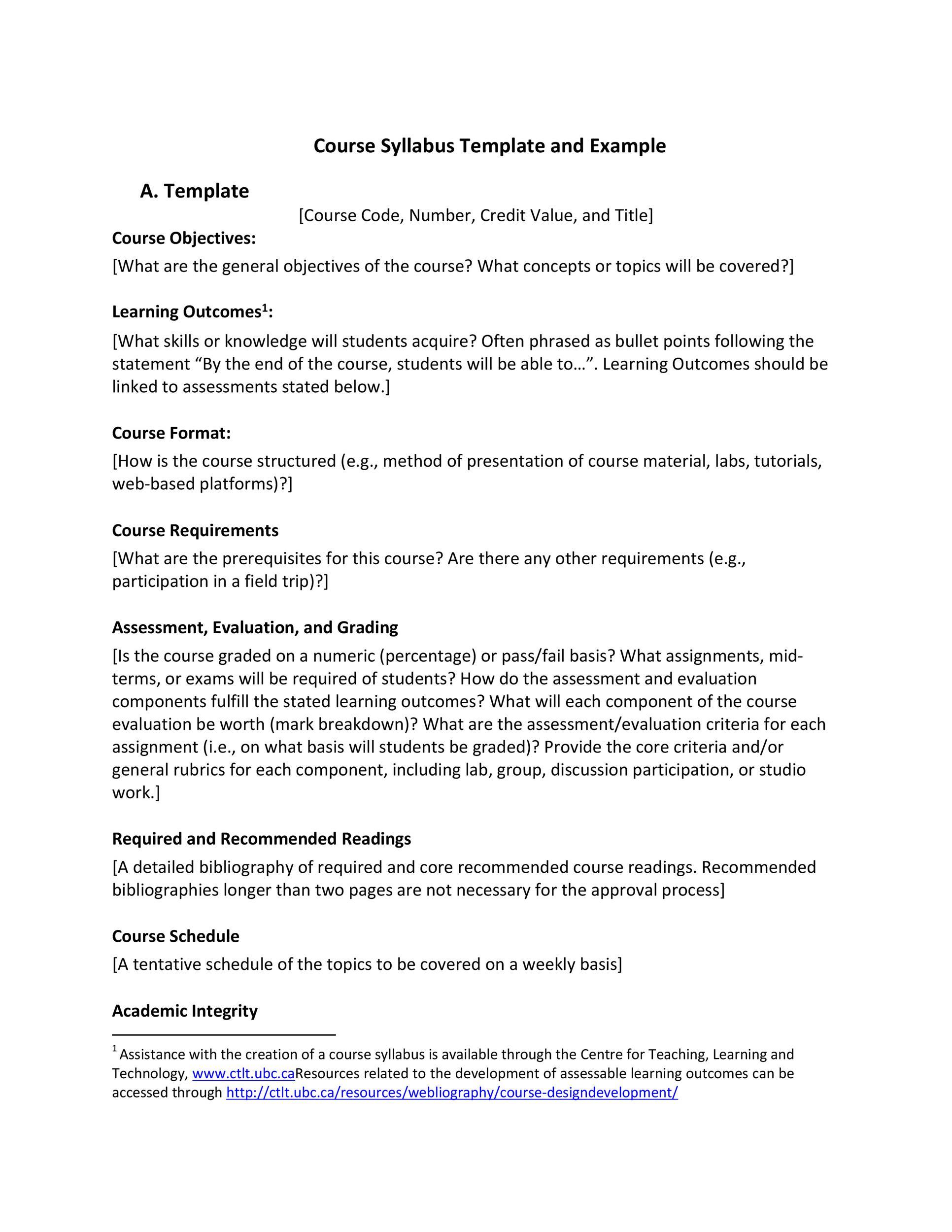 Free sylabus template 14