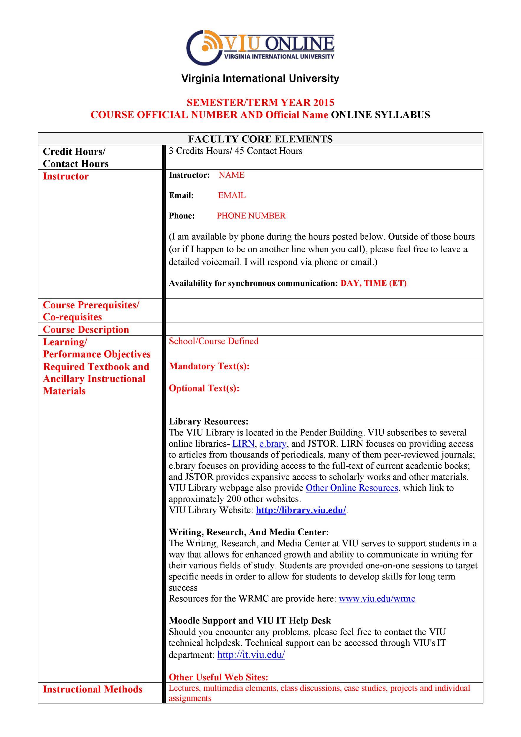 Free sylabus template 19