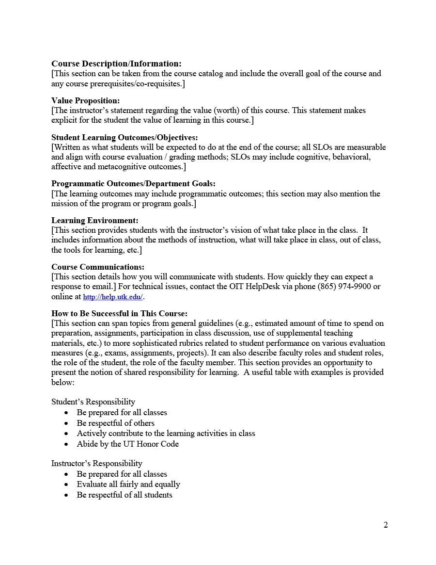 Free sylabus template 25