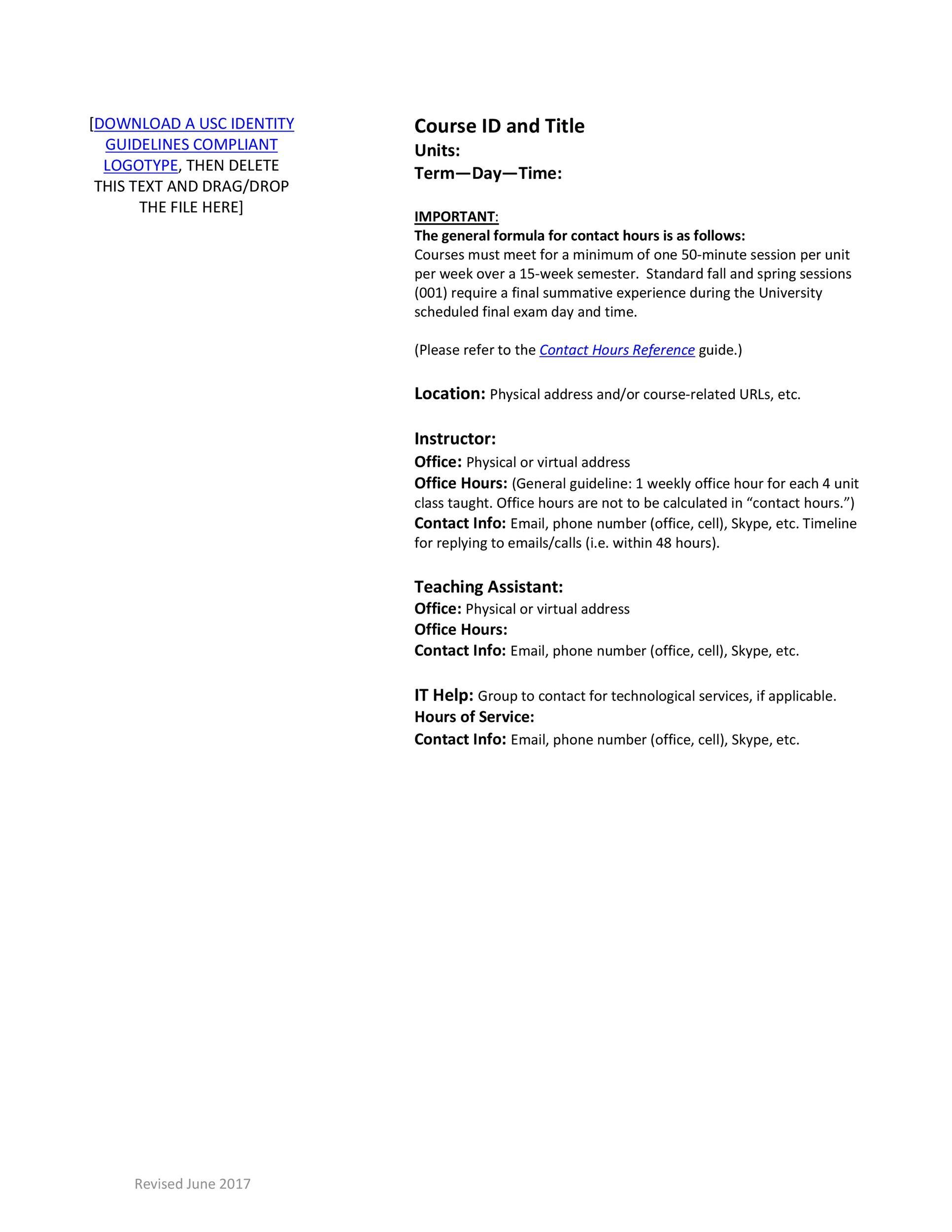 Free sylabus template 42