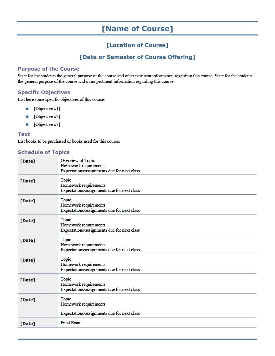 Free sylabus template 47