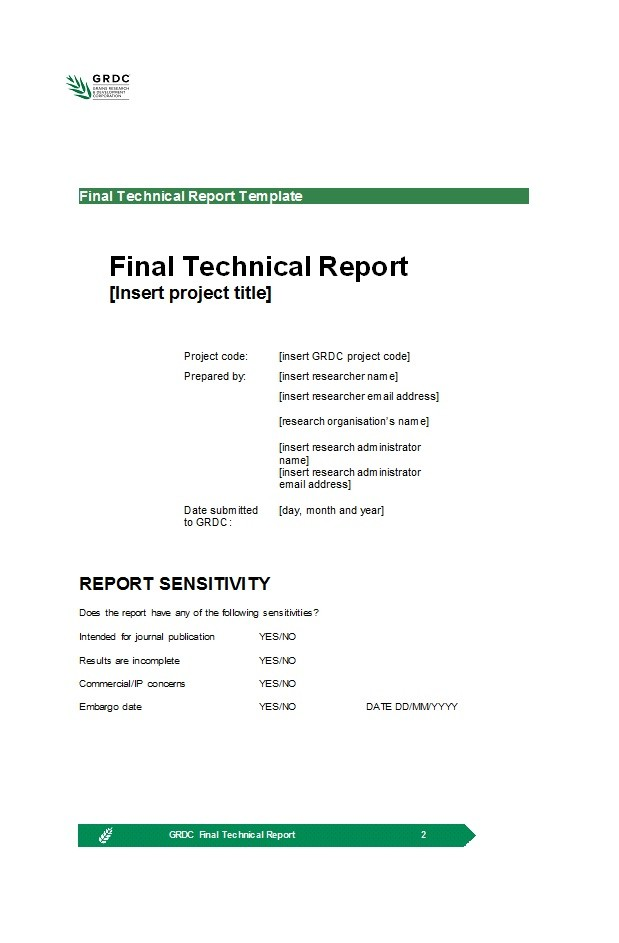 Free technical report template 08