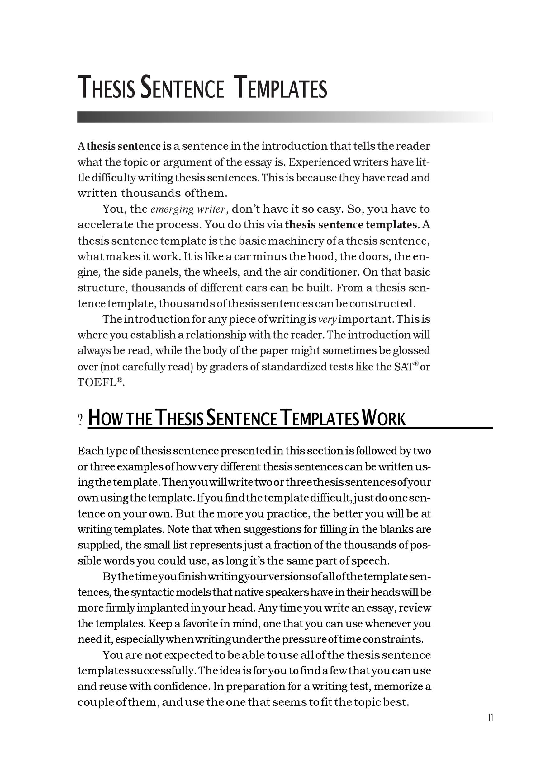Free thesis statement template 01