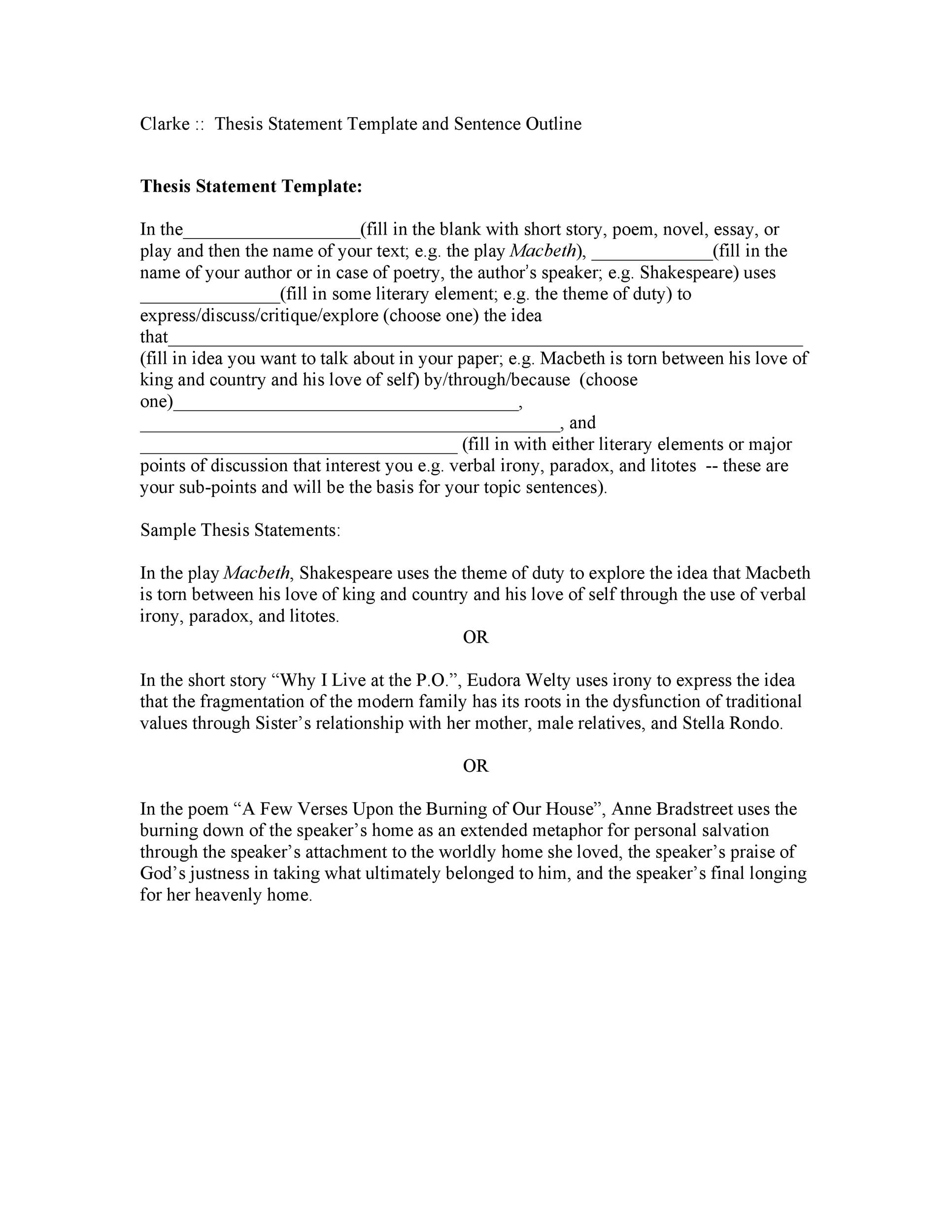 Free thesis statement template 06