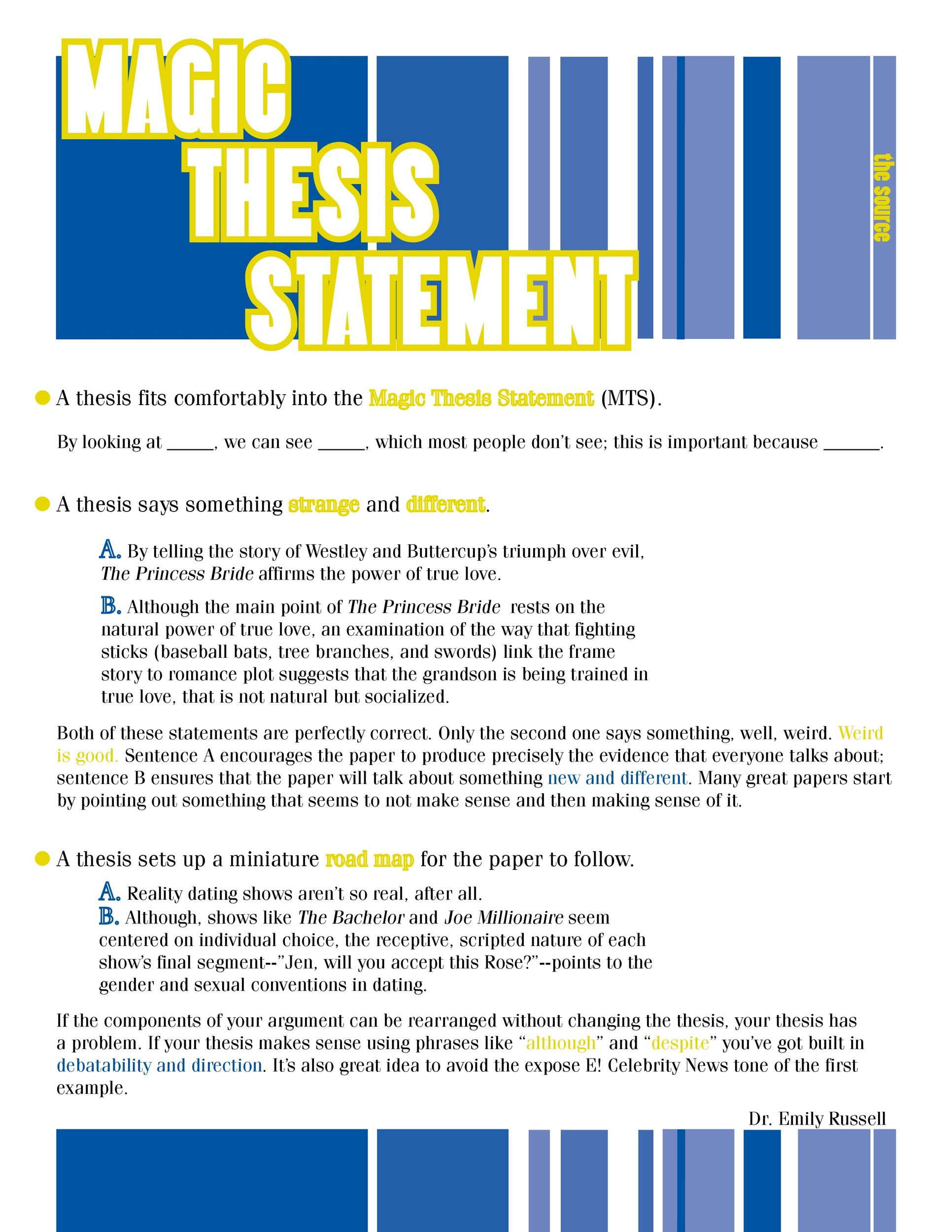 Free thesis statement template 07