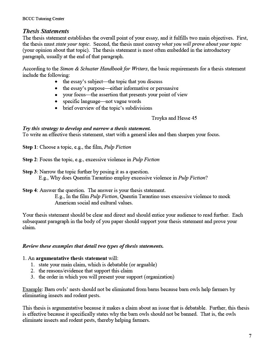 How to write an argumentative thesis statement for an essay