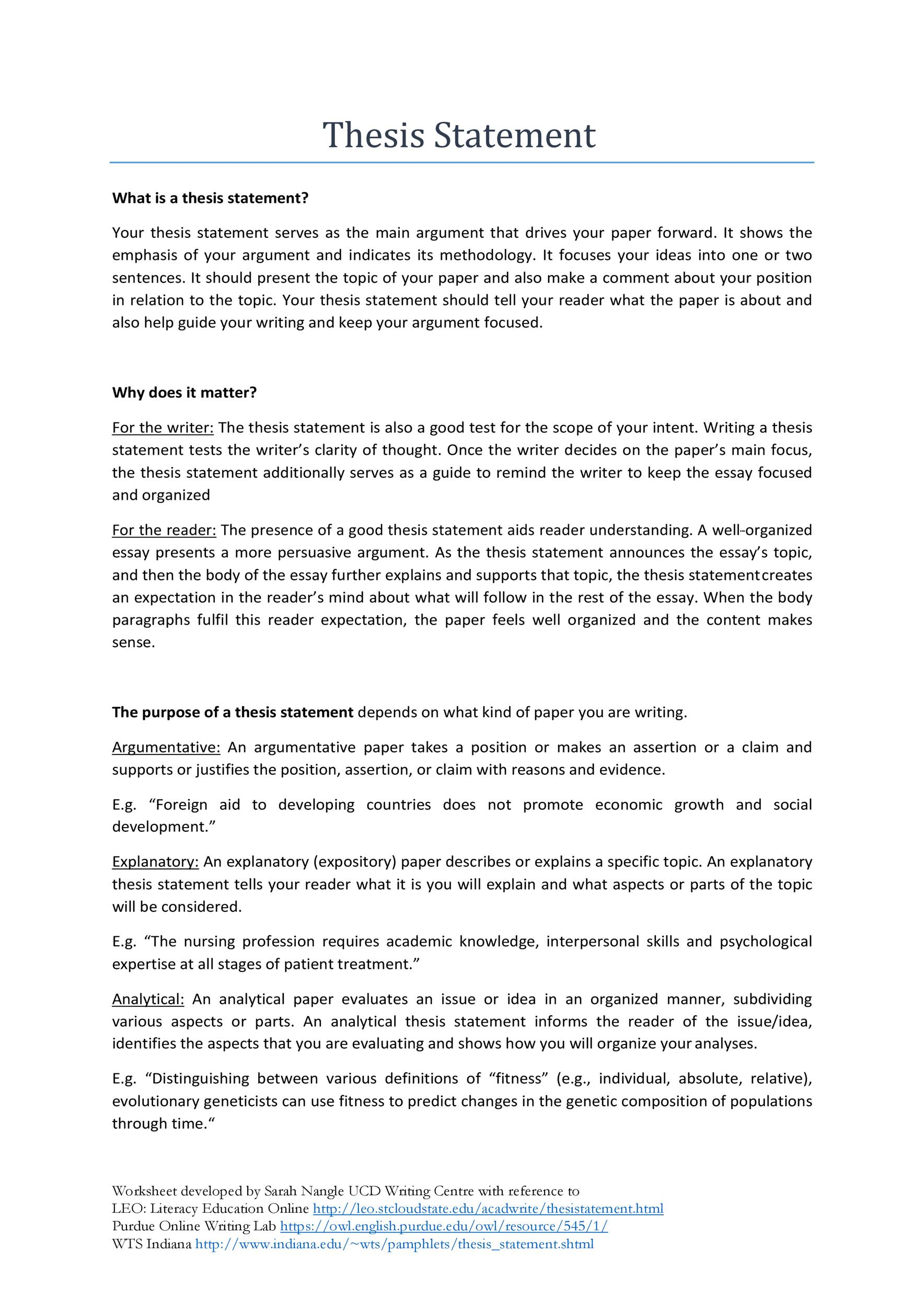 Free thesis statement template 10