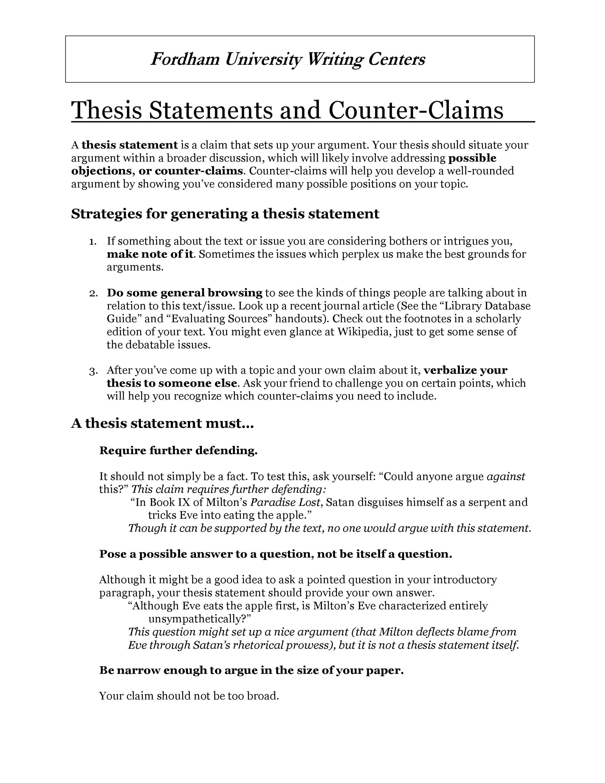 Free thesis statement template 11