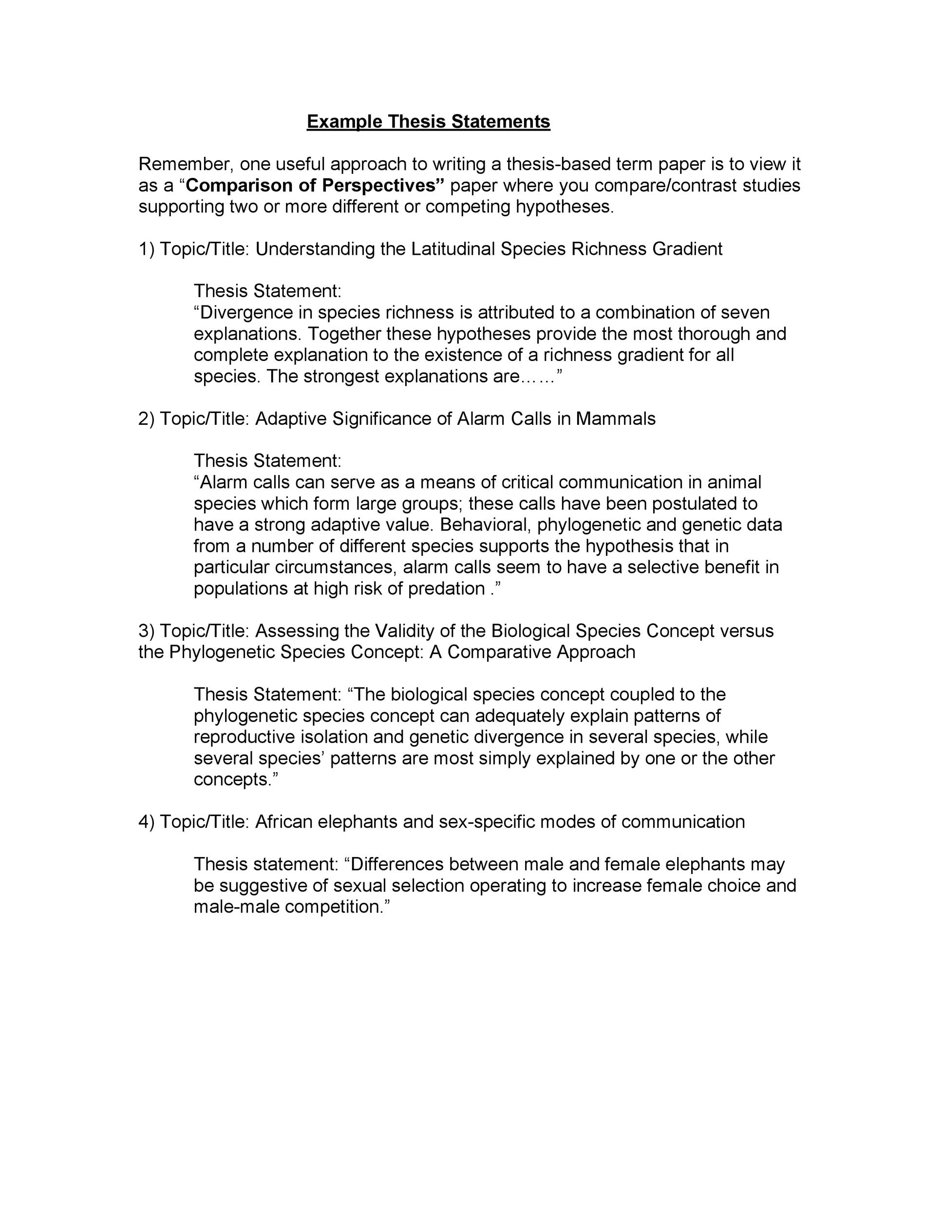 Free thesis statement template 12