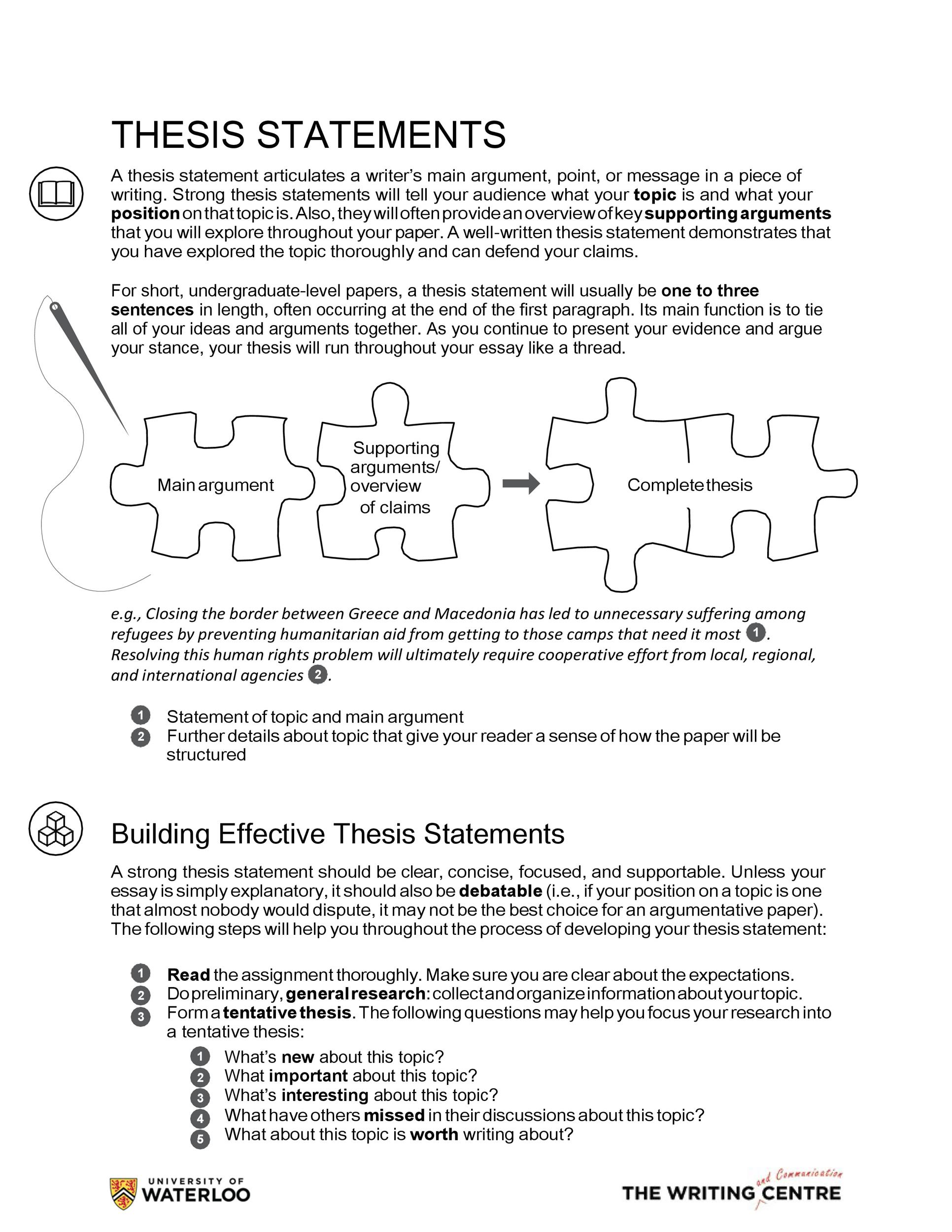 Free thesis statement template 13