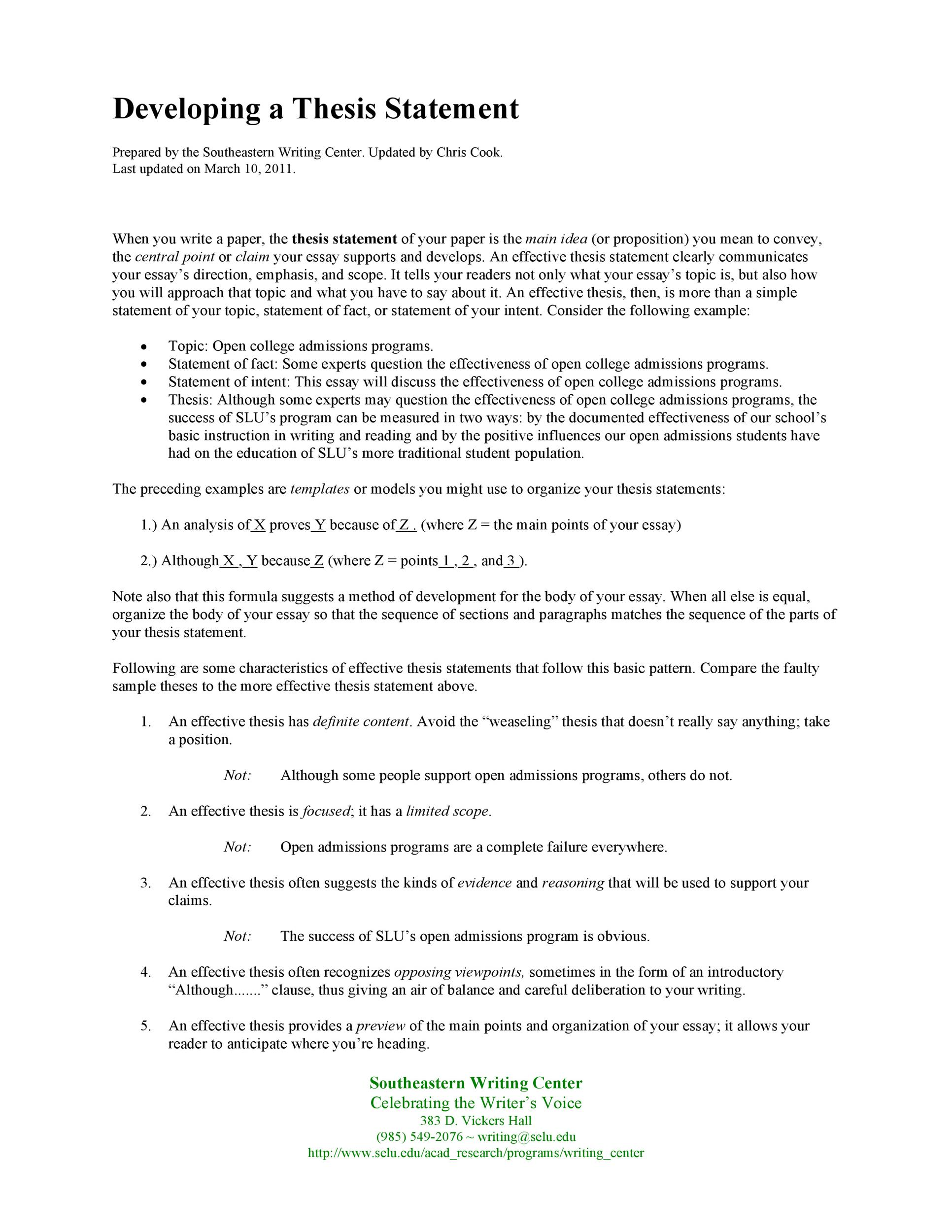 Free thesis statement template 15