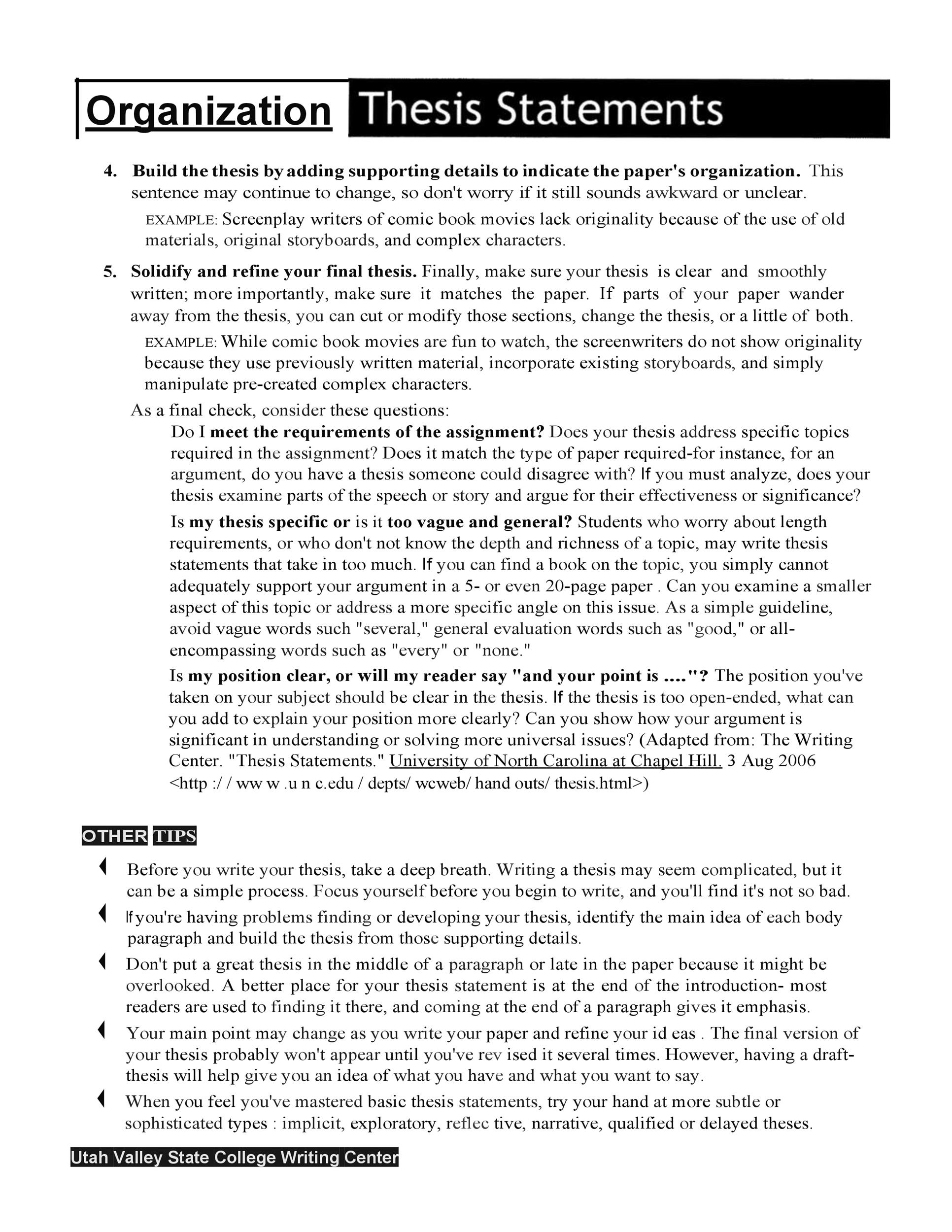 Free thesis statement template 18