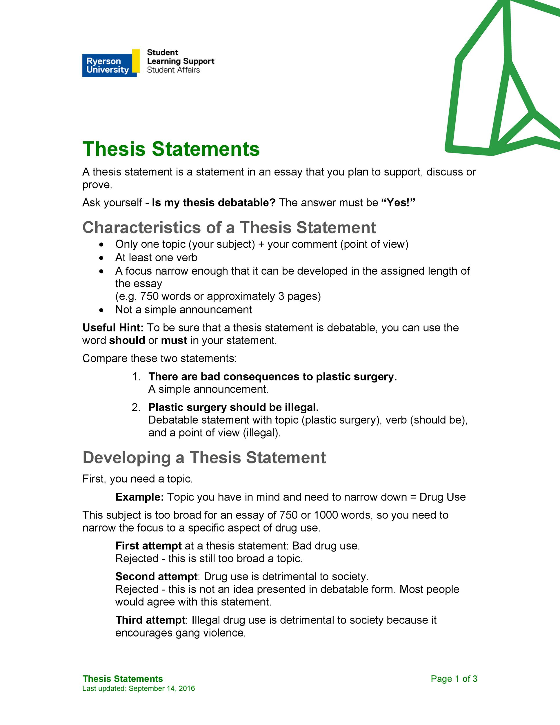 Free thesis statement template 19