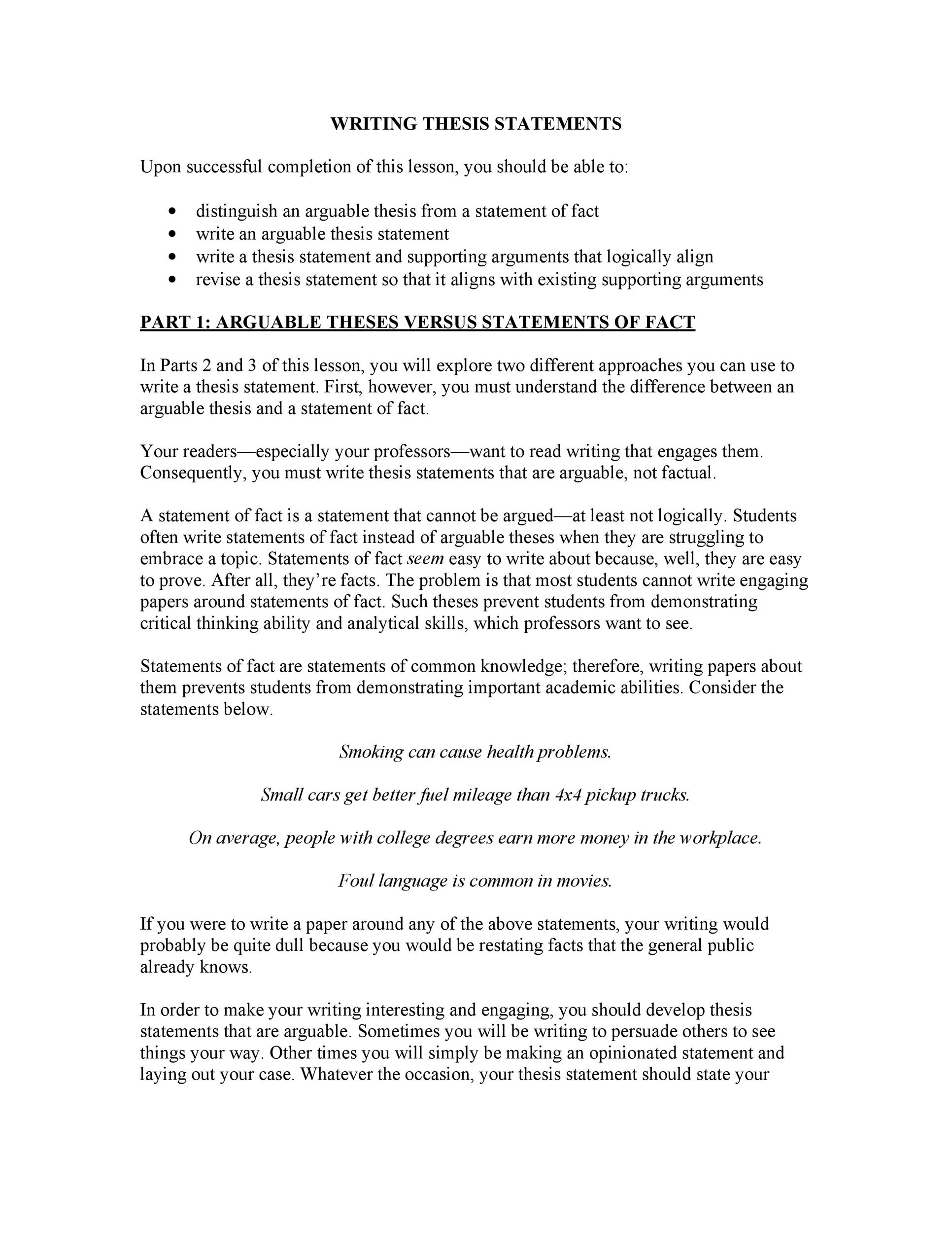 Free thesis statement template 21