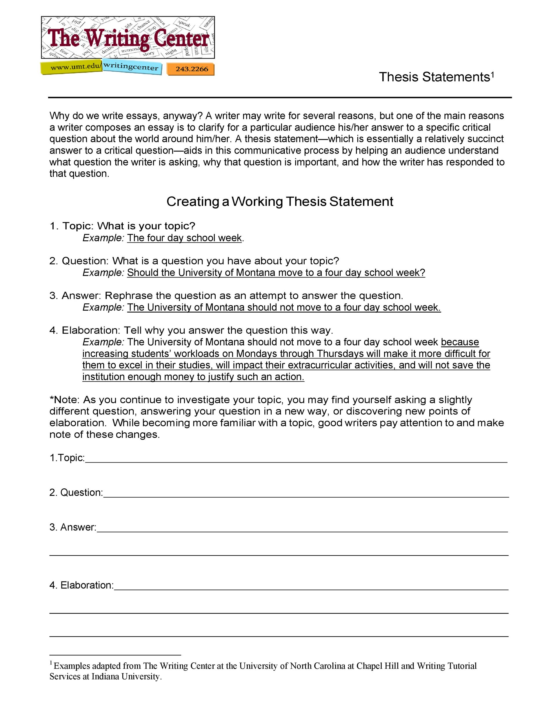 Free thesis statement template 26