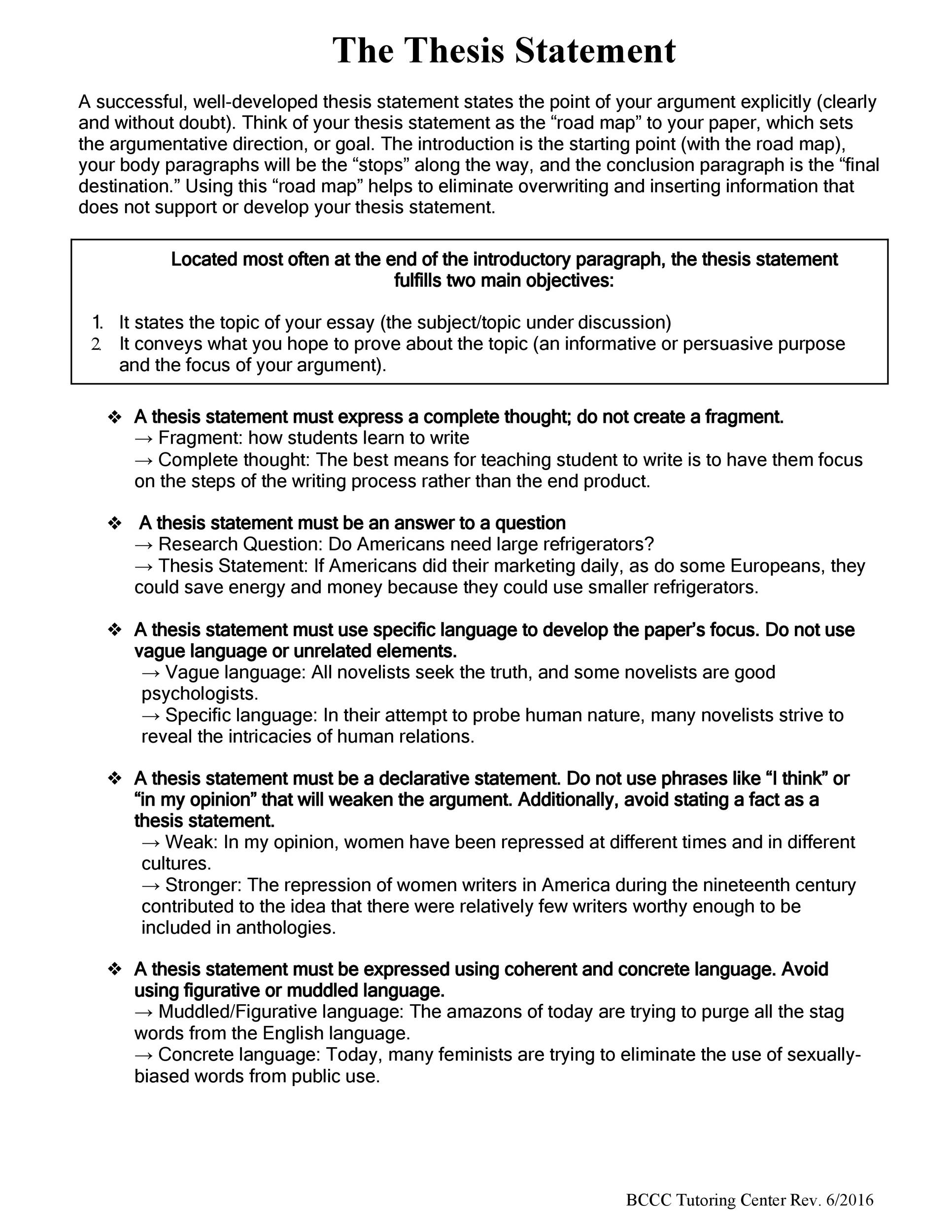 Free thesis statement template 33