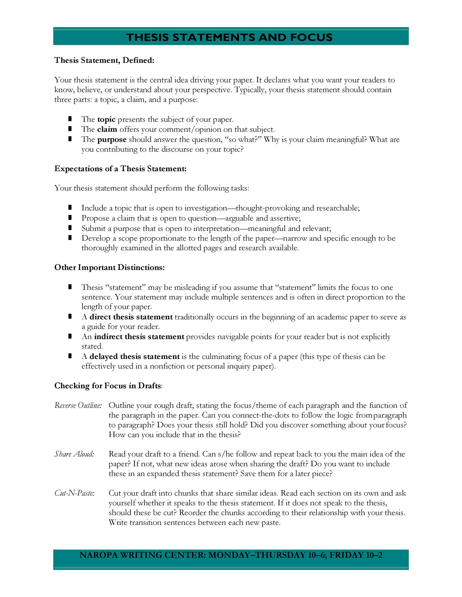 Thesis Statement Templates