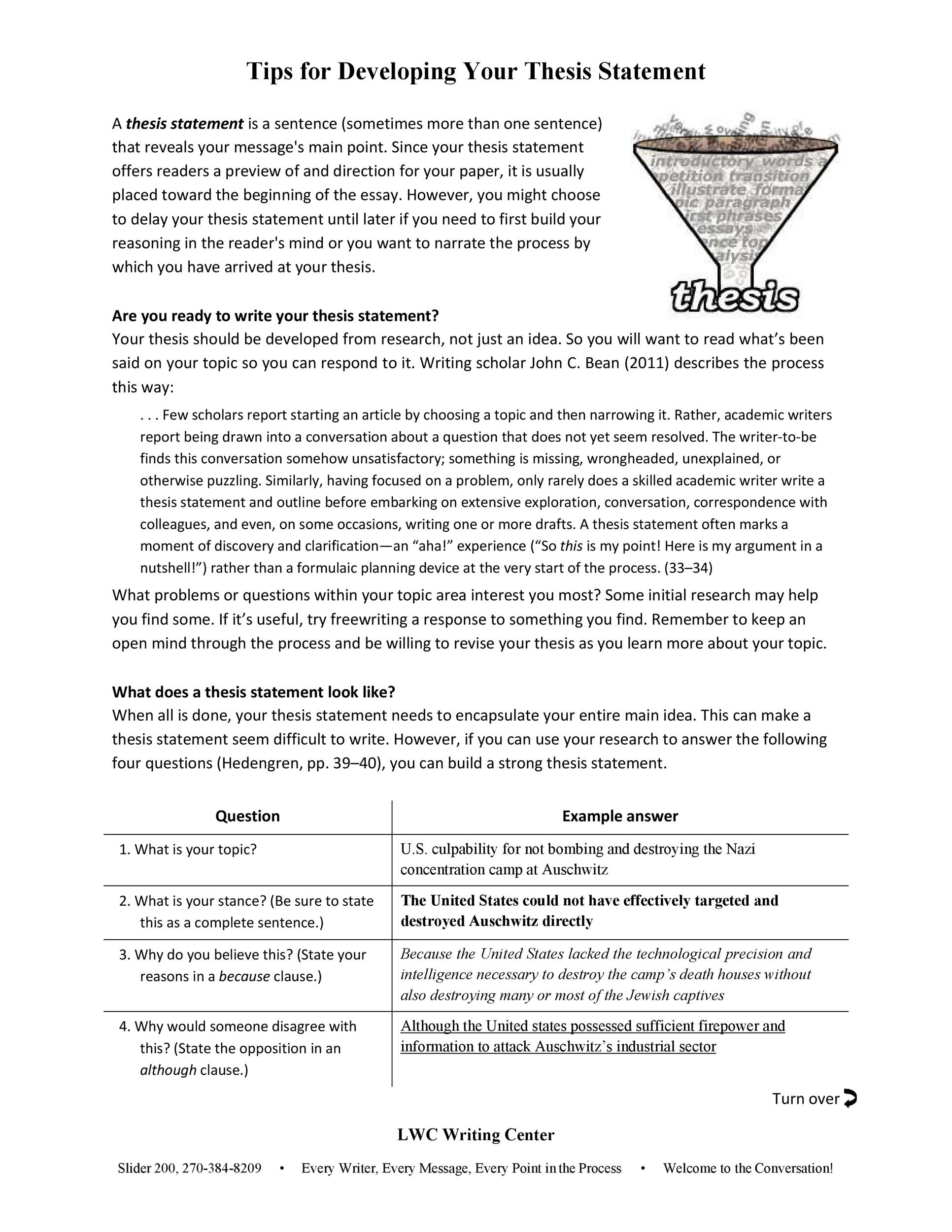 Free thesis statement template 39