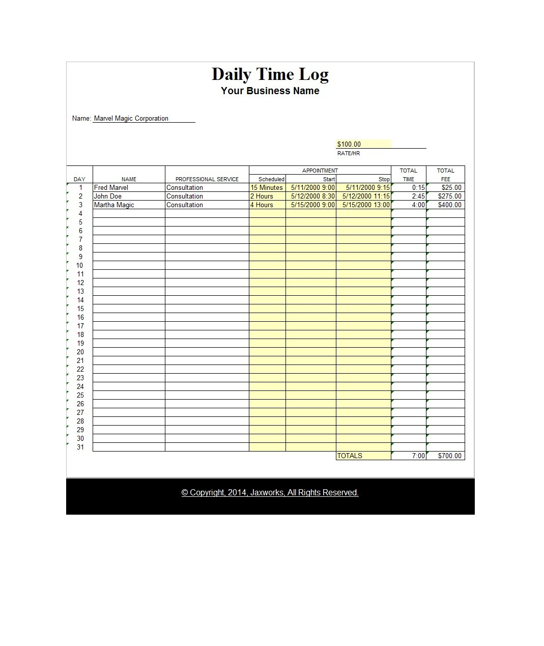 Free time tracking spreadsheet 34