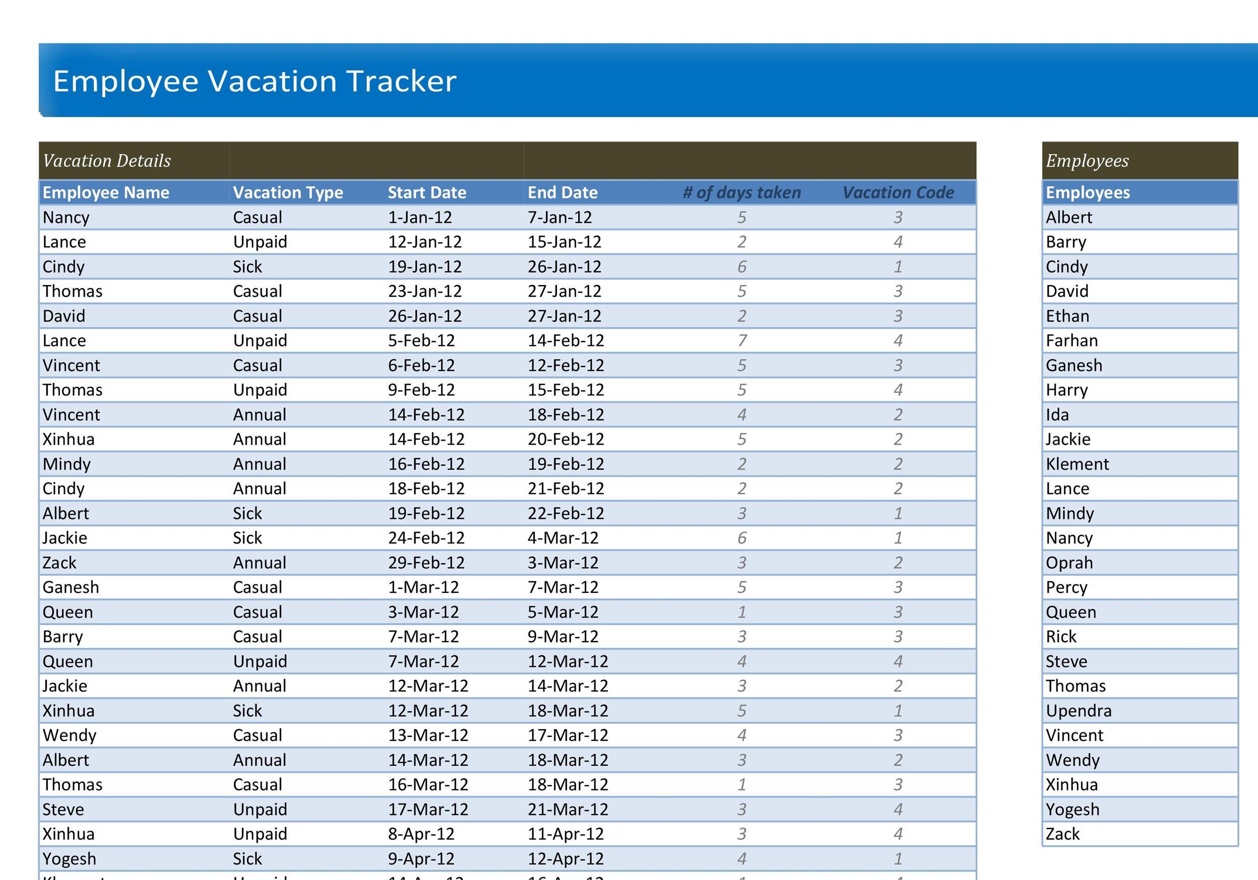 Free vacation tracker 18