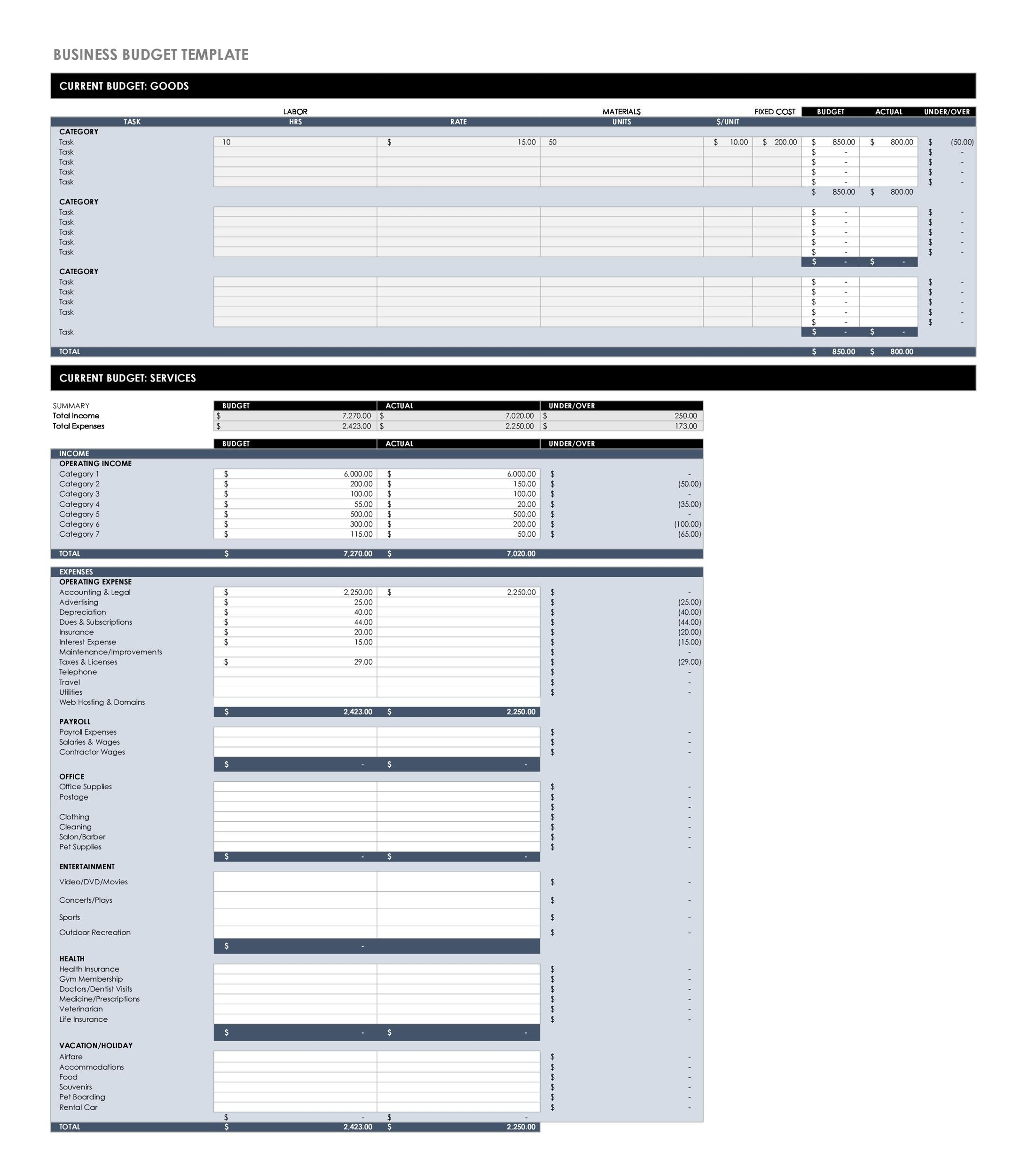 Free business budget template 02