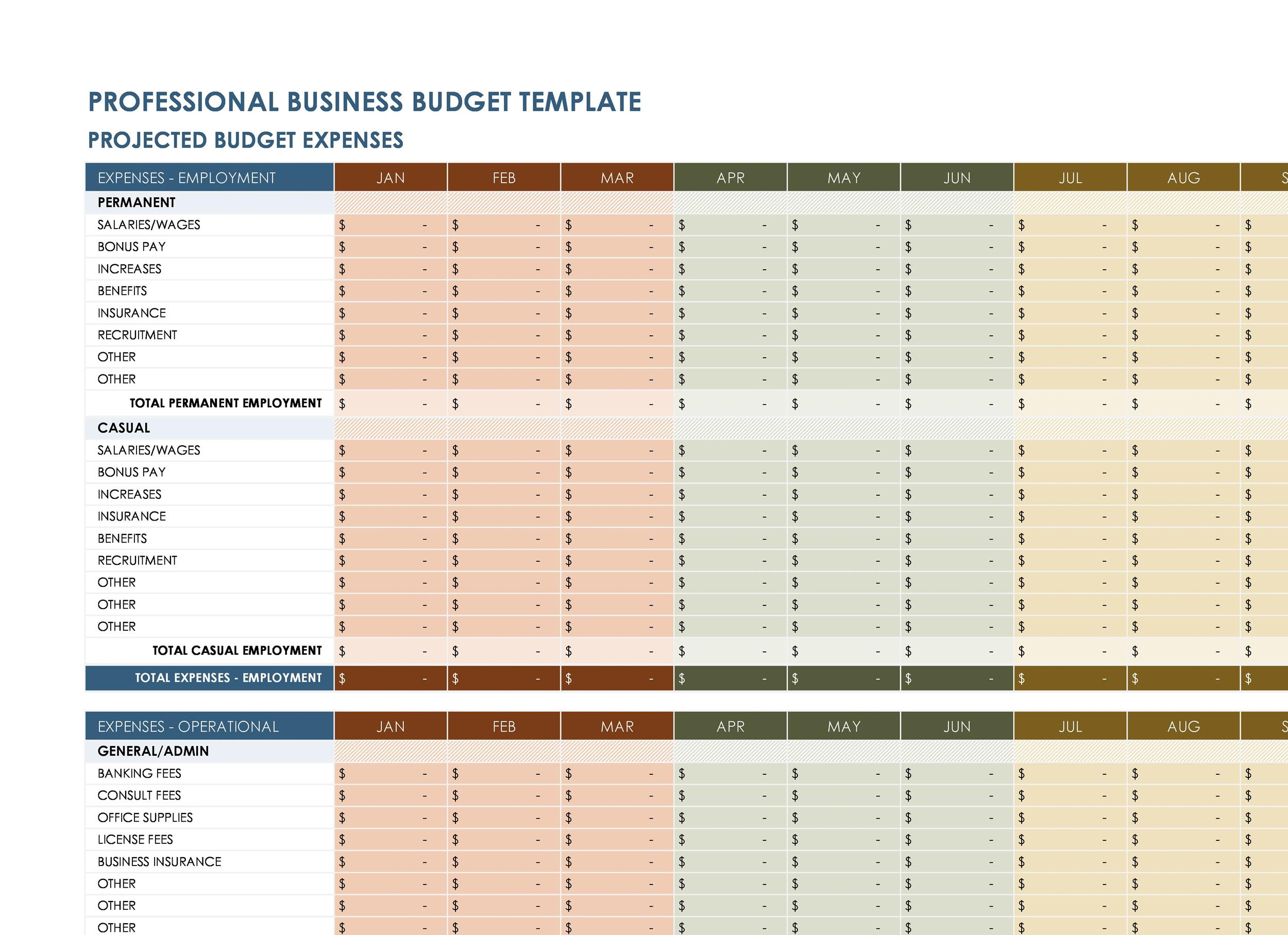 Free business budget template 09