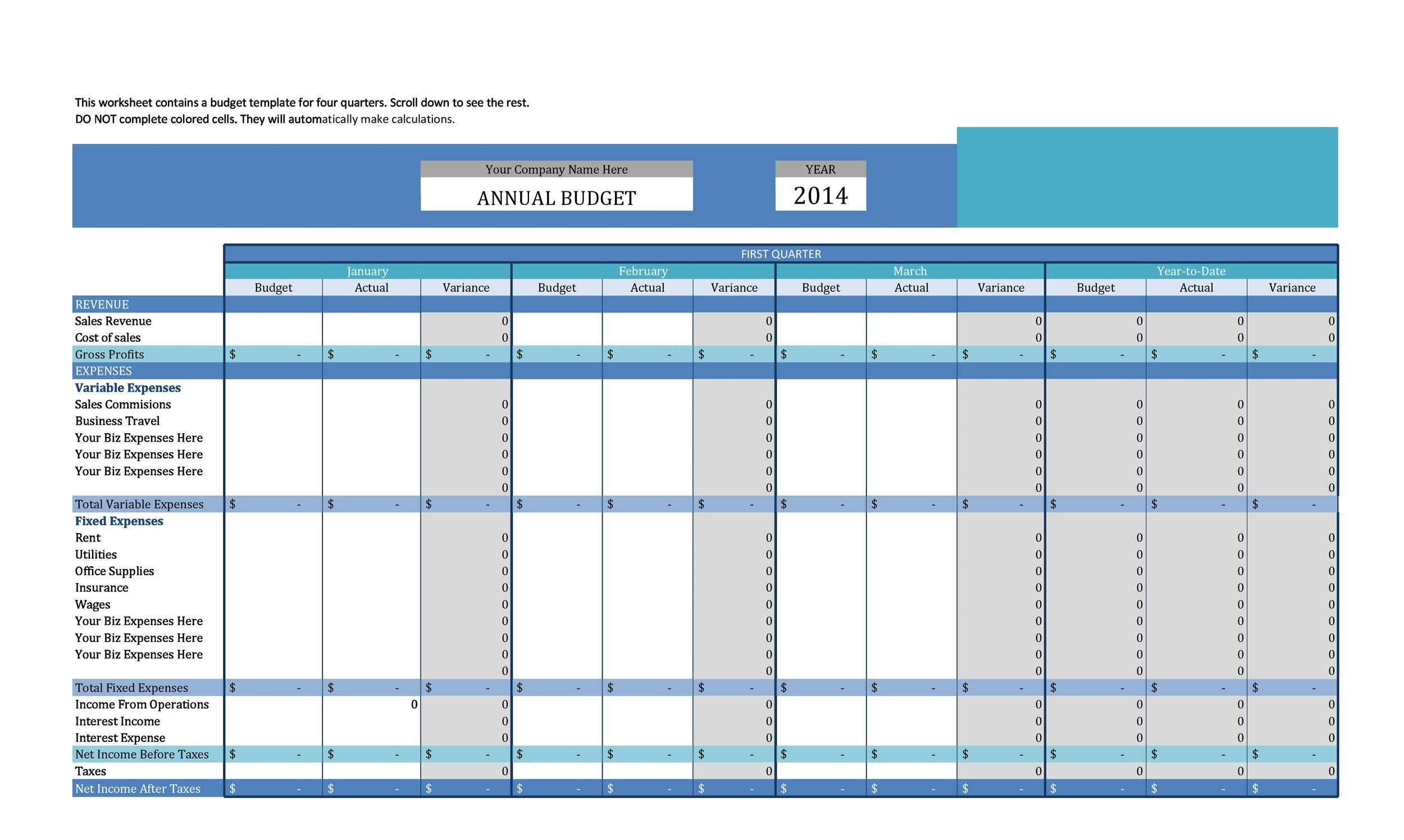 Free business budget template 14