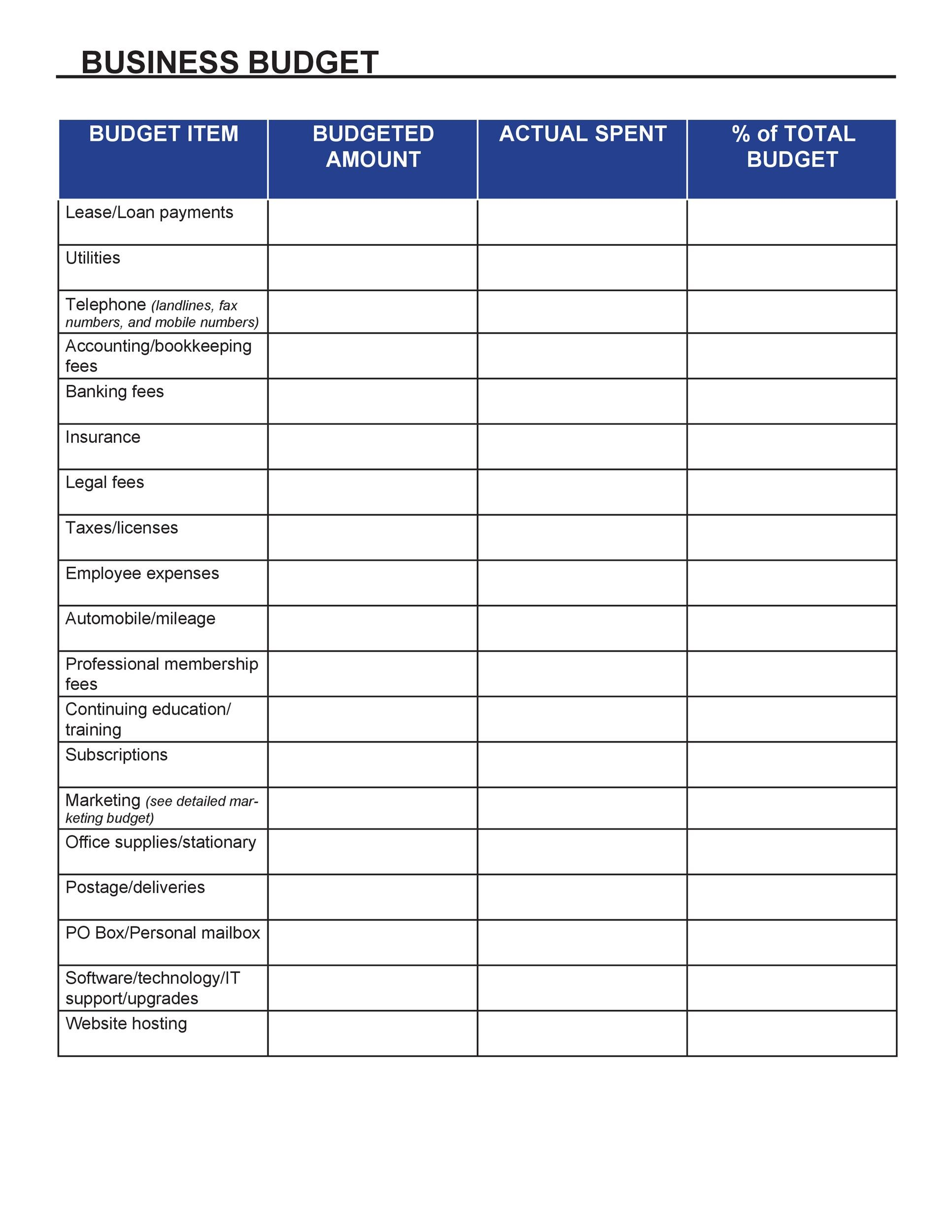 Free business budget template 26