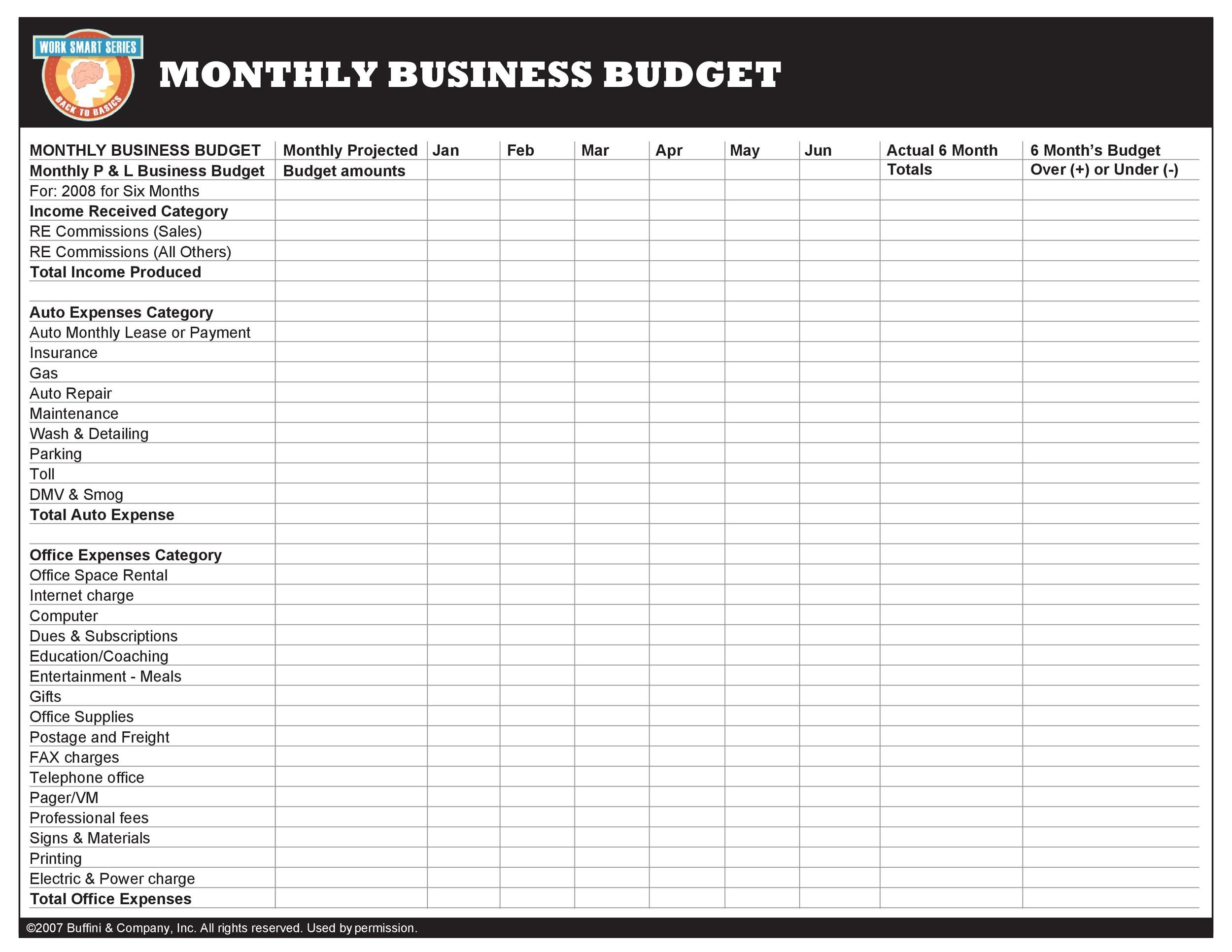 Free business budget template 30