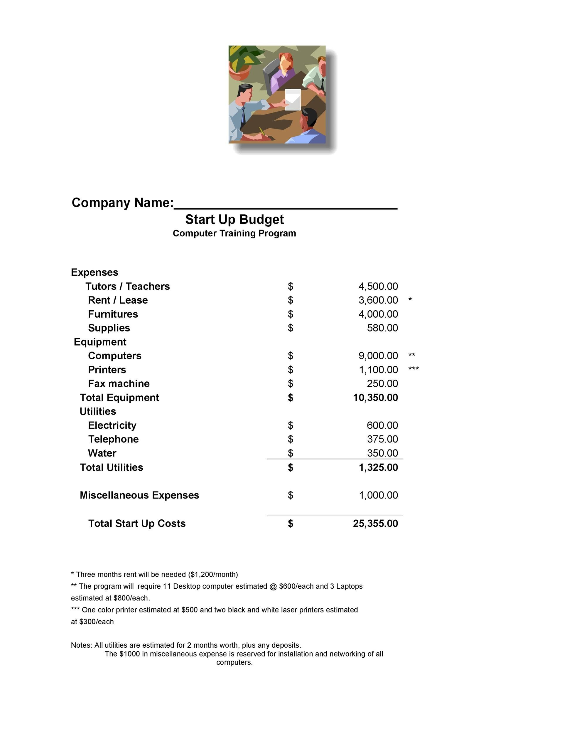 Free business budget template 33
