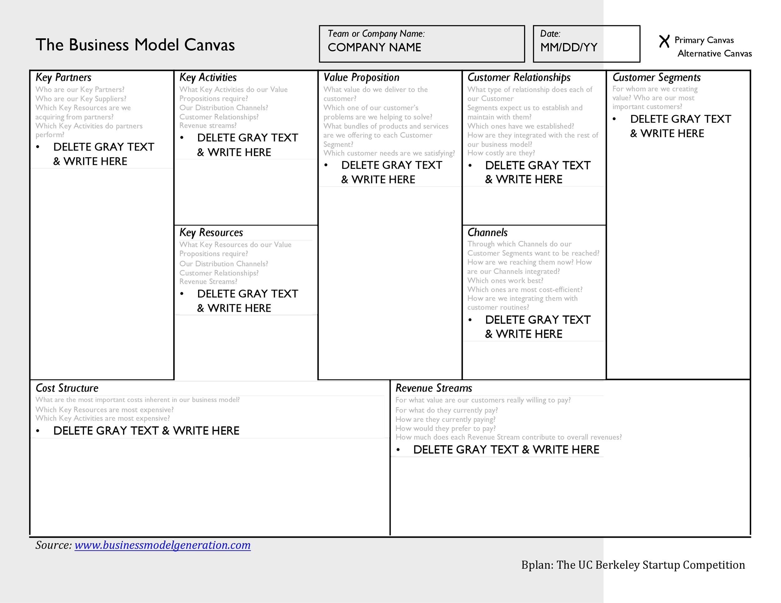 Free business model template 10