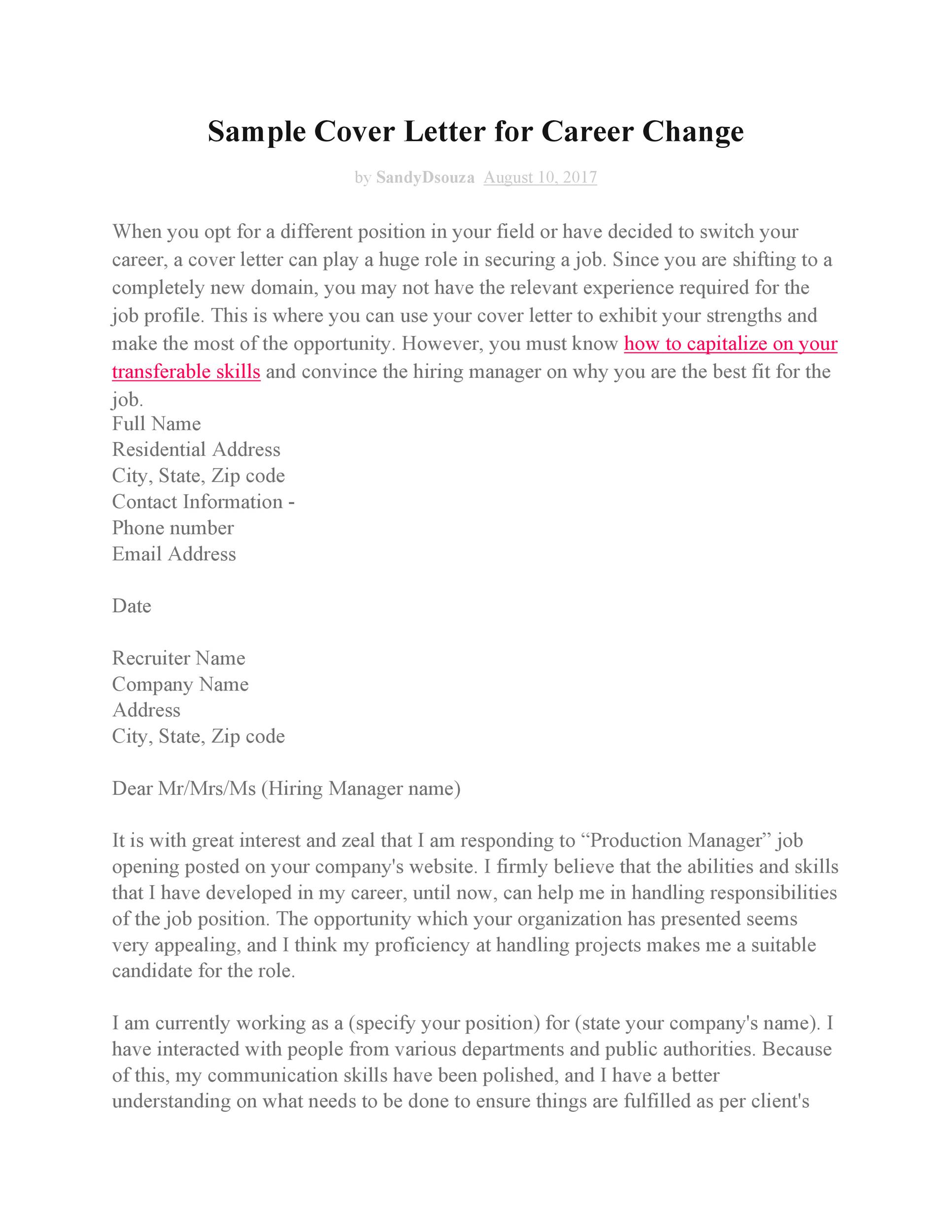 Free career change cover letter 13