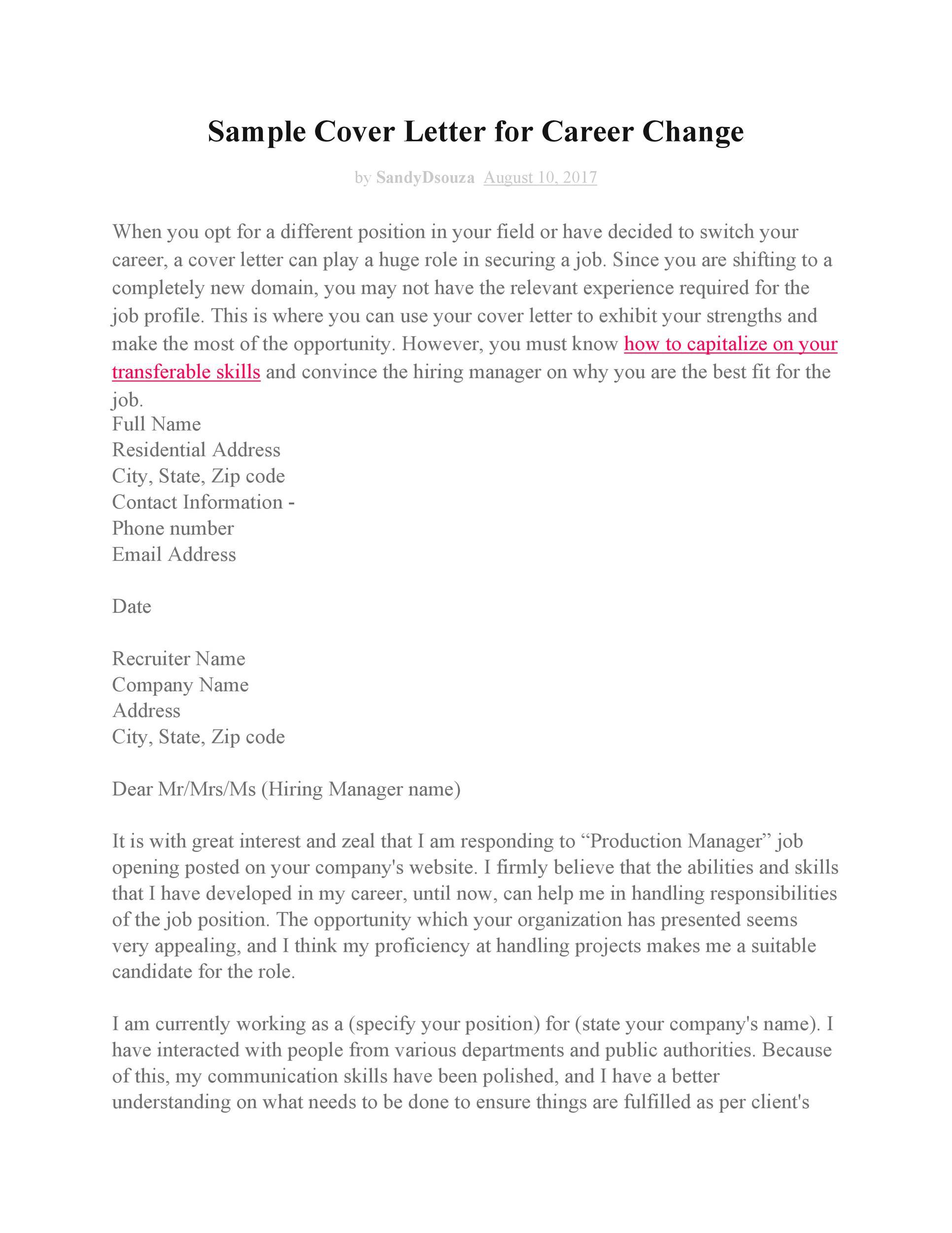 Free career change cover letter 13