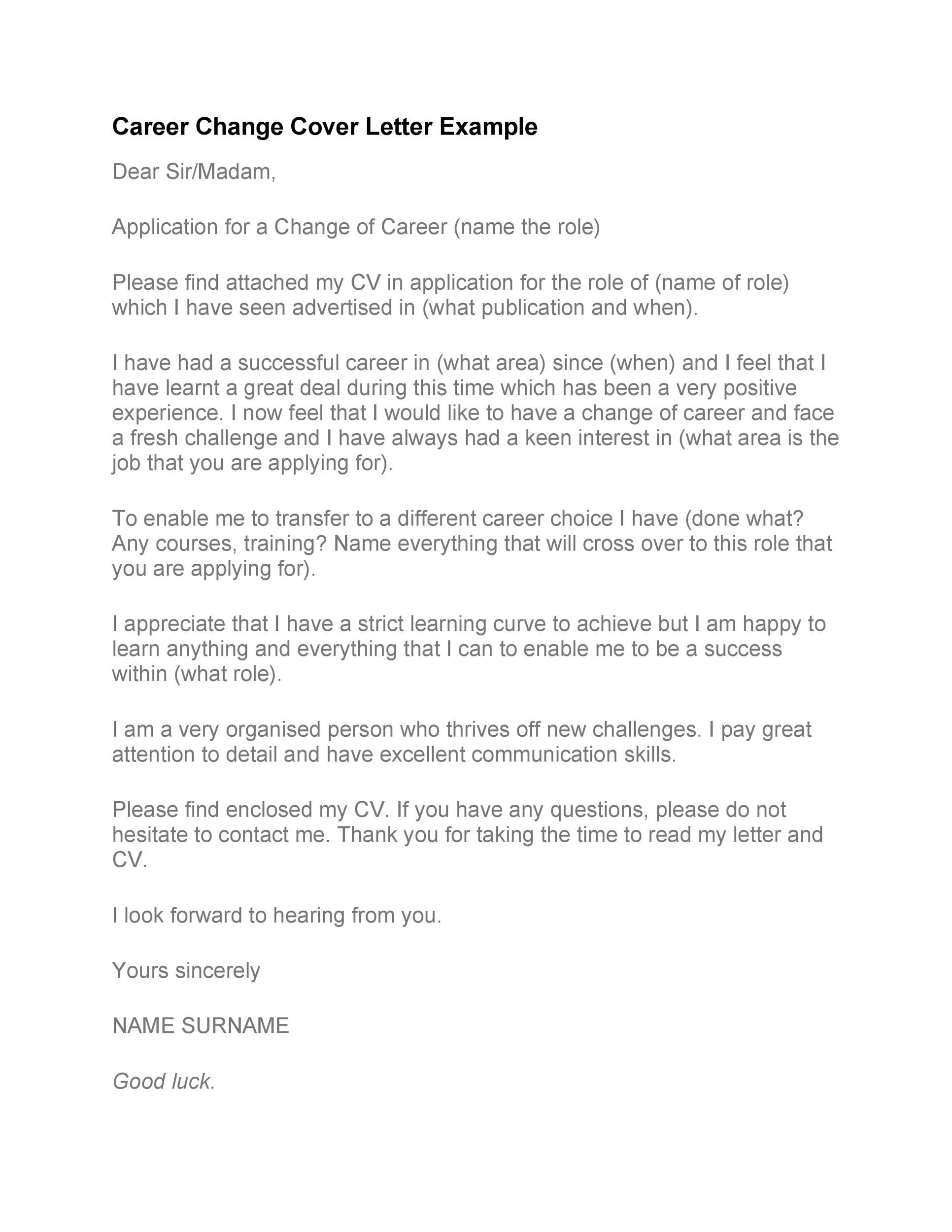 Free career change cover letter 14