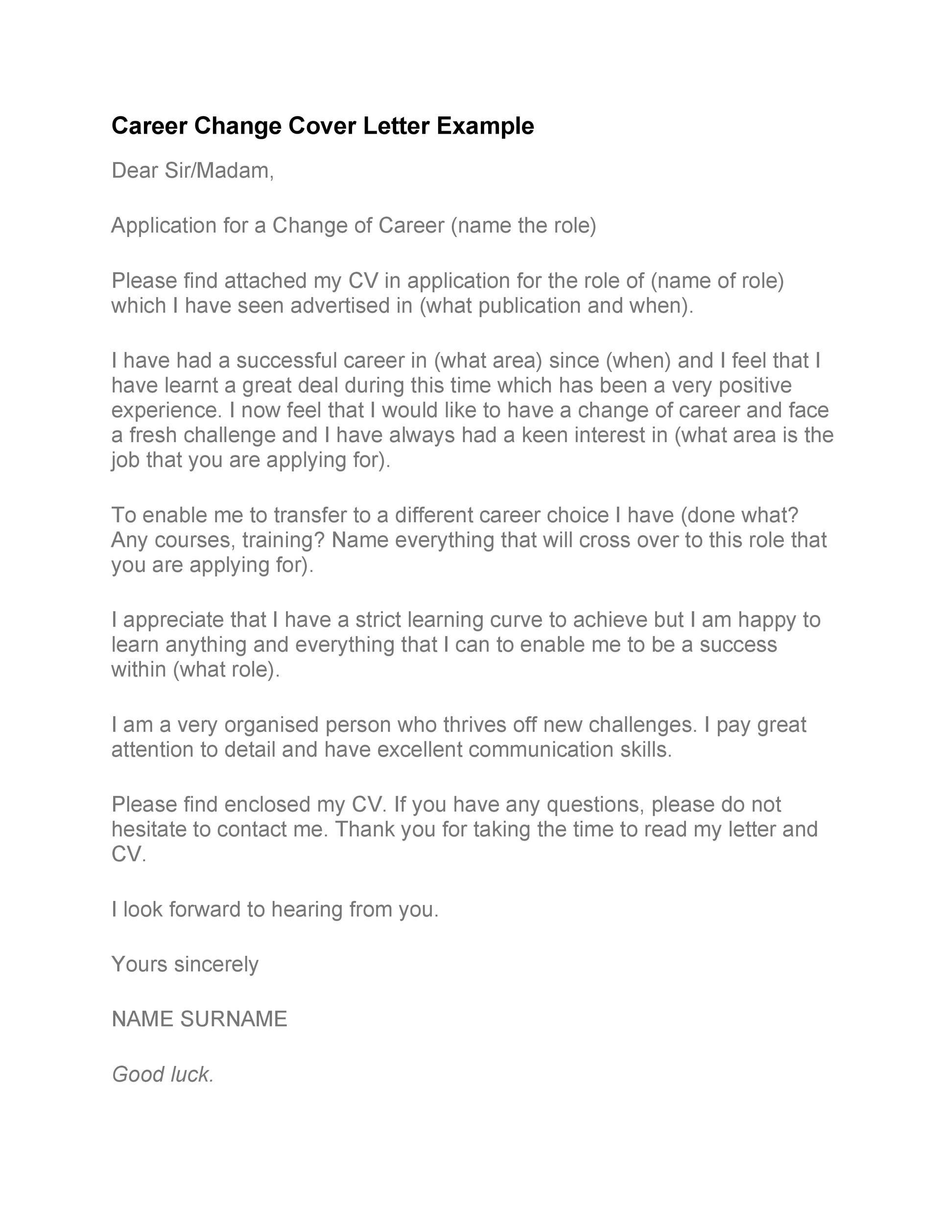 Free career change cover letter 14